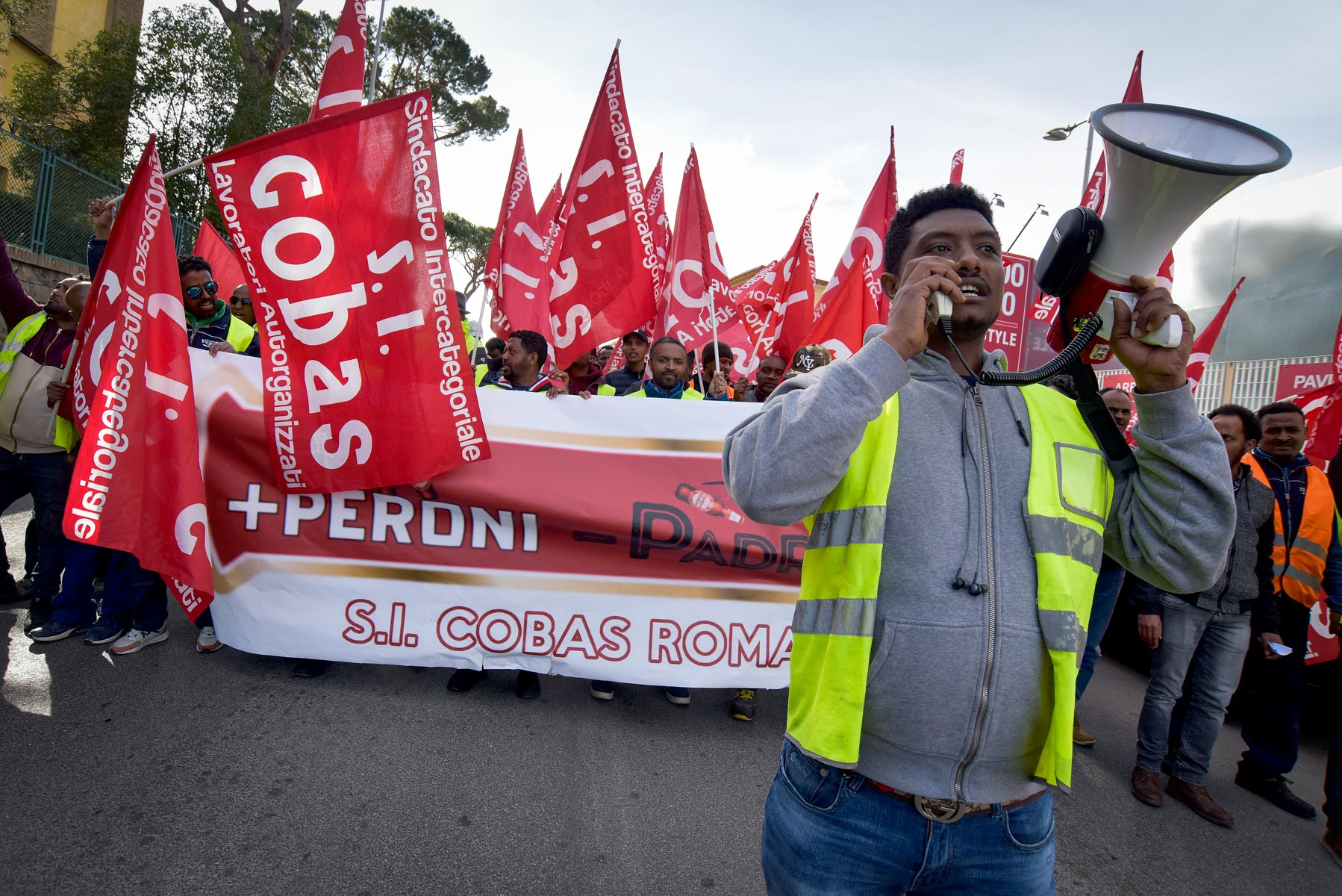 29 February 2020: Long-term Peroni beer factory workers march in Rome, Italy. The Ethiopian and Eritrean refugees were protesting against 'unsustainable contractual conditions' and 'wrong payrolls that do not respect the hours'. (Photograph by Simona Granati – Corbis/ Getty Images)