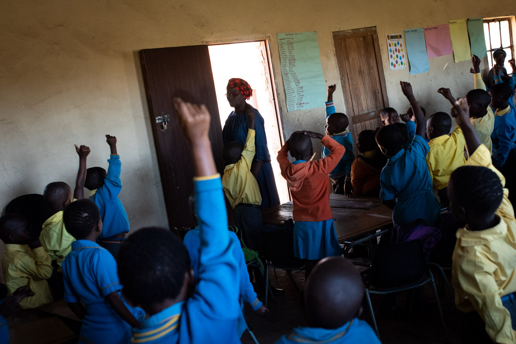 13 April 2108: Veronica Madikizela teaches her class of over 60 students in a dilapidated mud structure at Mjanyelwa Junior Secondary School near Bizana in the Eastern Cape.