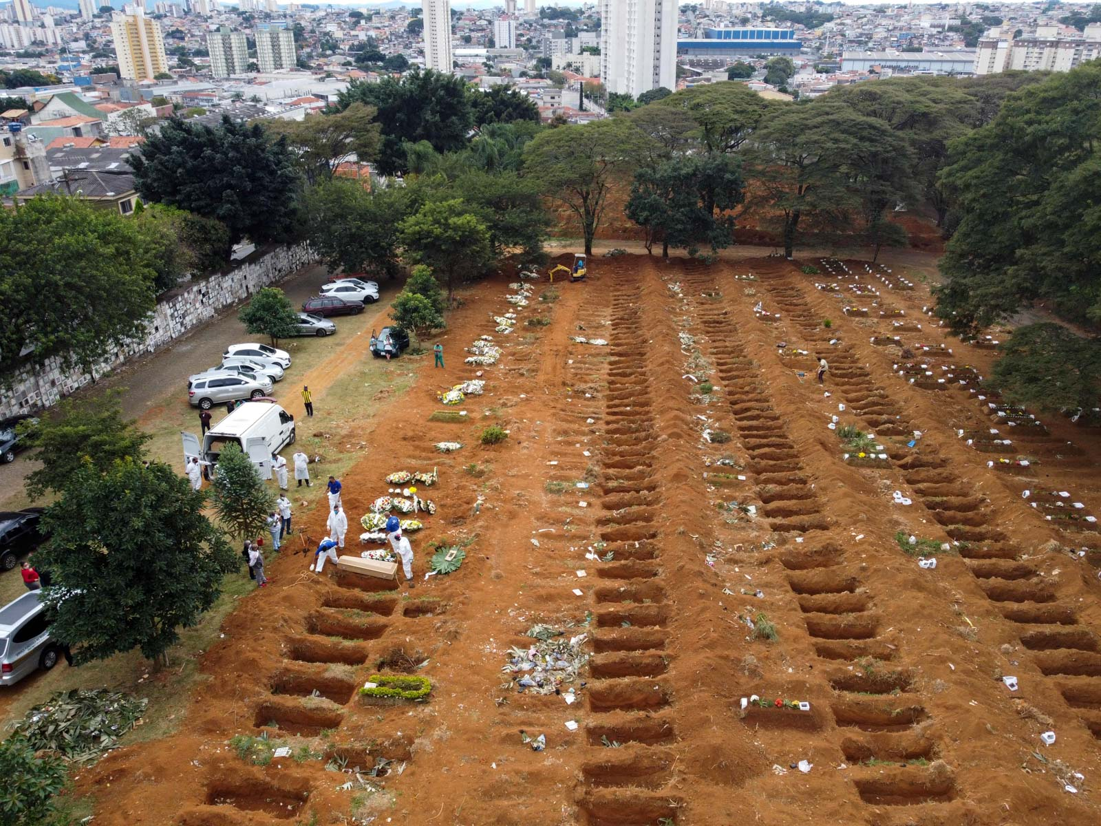 23 May 2020: An aerial view of the cemetery in Vila Formosa in São Paulo, Brazil, where the bodies of Covid-19 victims are buried. (Photograph by Marcello Zambrana/ Anadolu Agency via Getty Images)