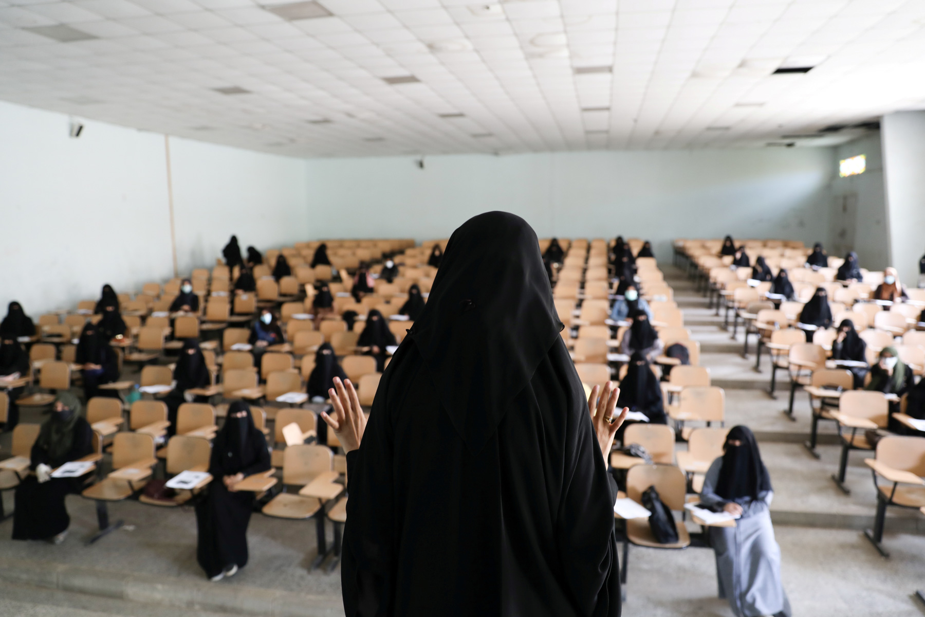 28 March 2020: An instructor addresses volunteers for a coronavirus awareness campaign ahead of the spread of Covid-19 in Sana'a, Yemen. (Photograph by Reuters/ Khaled Abdullah)