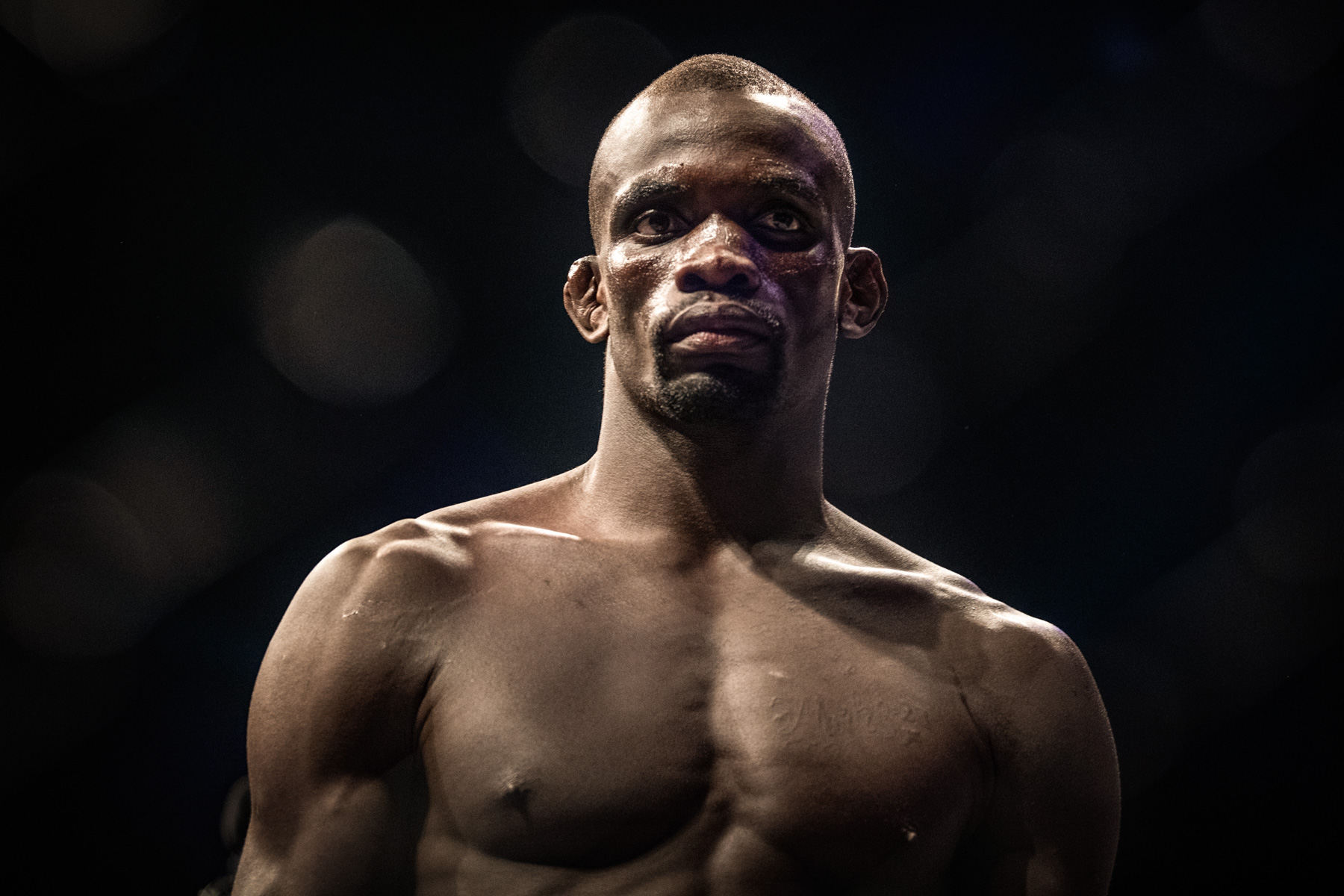 3 May 2019: Themba Gorimbo in the EFC 79: Fight Night welterweight bout against Jose Da Rocha at Carnival City in Johannesburg. (Photograph by Leticia Cox)