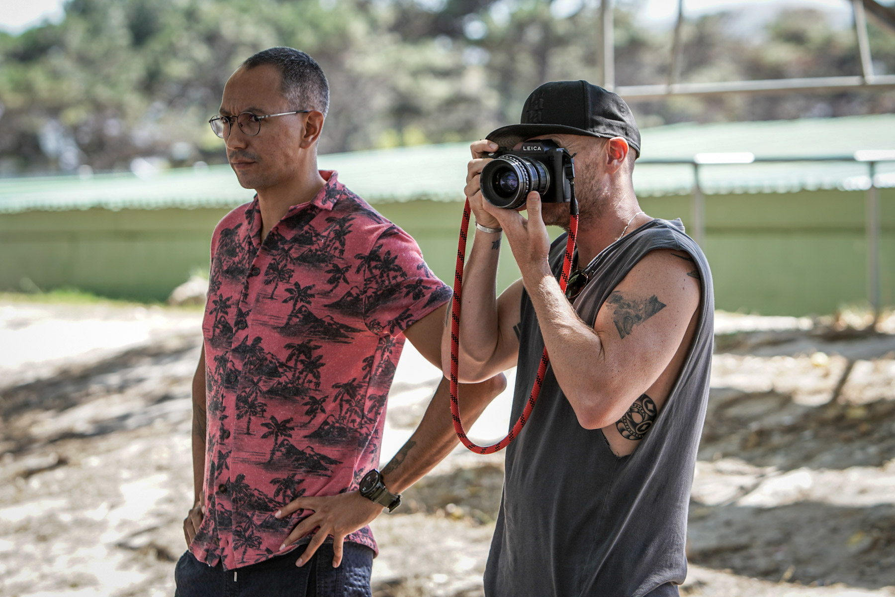 Undated: From left, Oliver Hermanus and cinematographer Jamie D Ramsay on the set of Moffie.