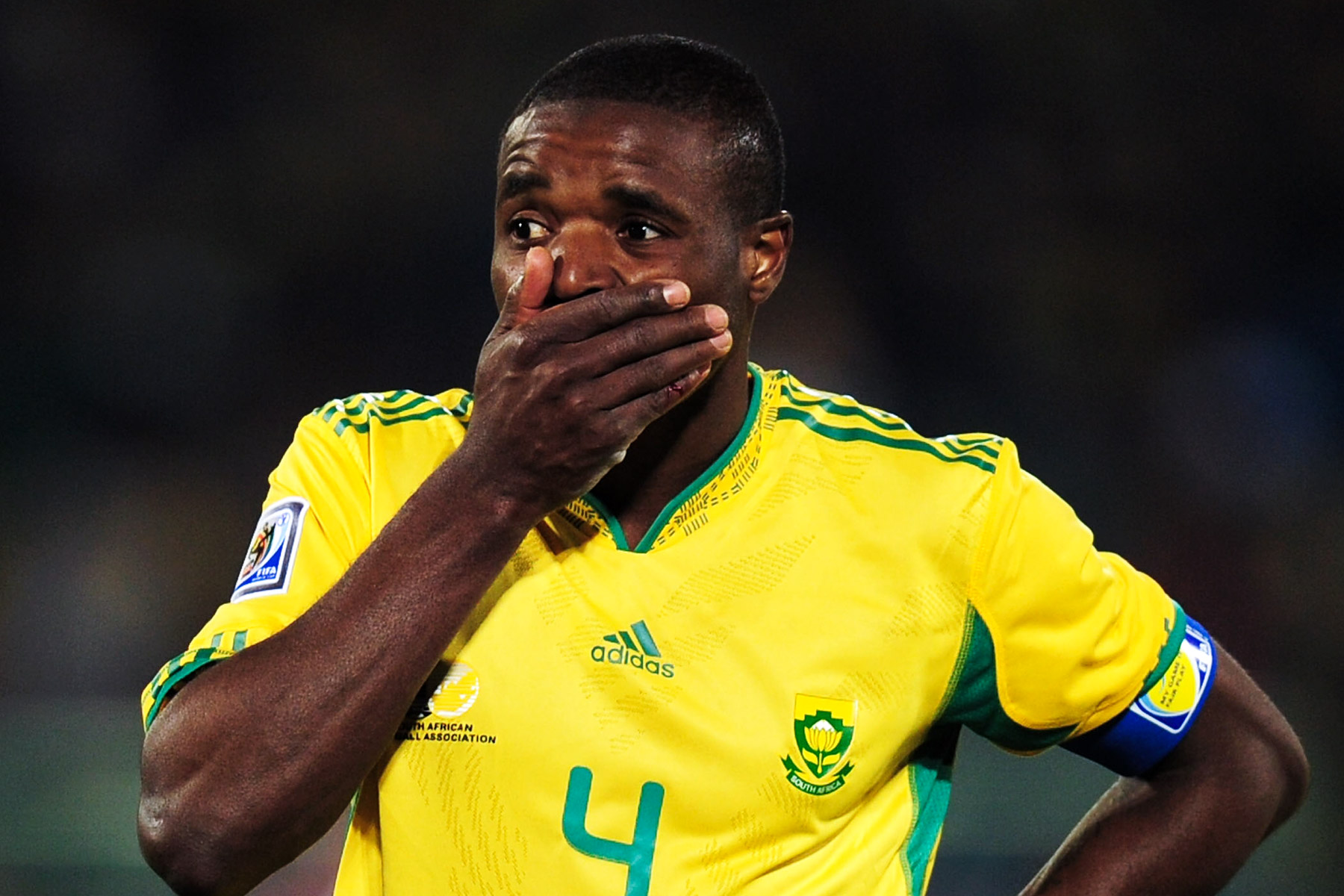16 June 2010: Aaron Mokoena during Bafana's 2010 World Cup match against Uruguay at the Loftus Versfeld Stadium in Pretoria. (Photograph by Clive Mason/ Getty Images)