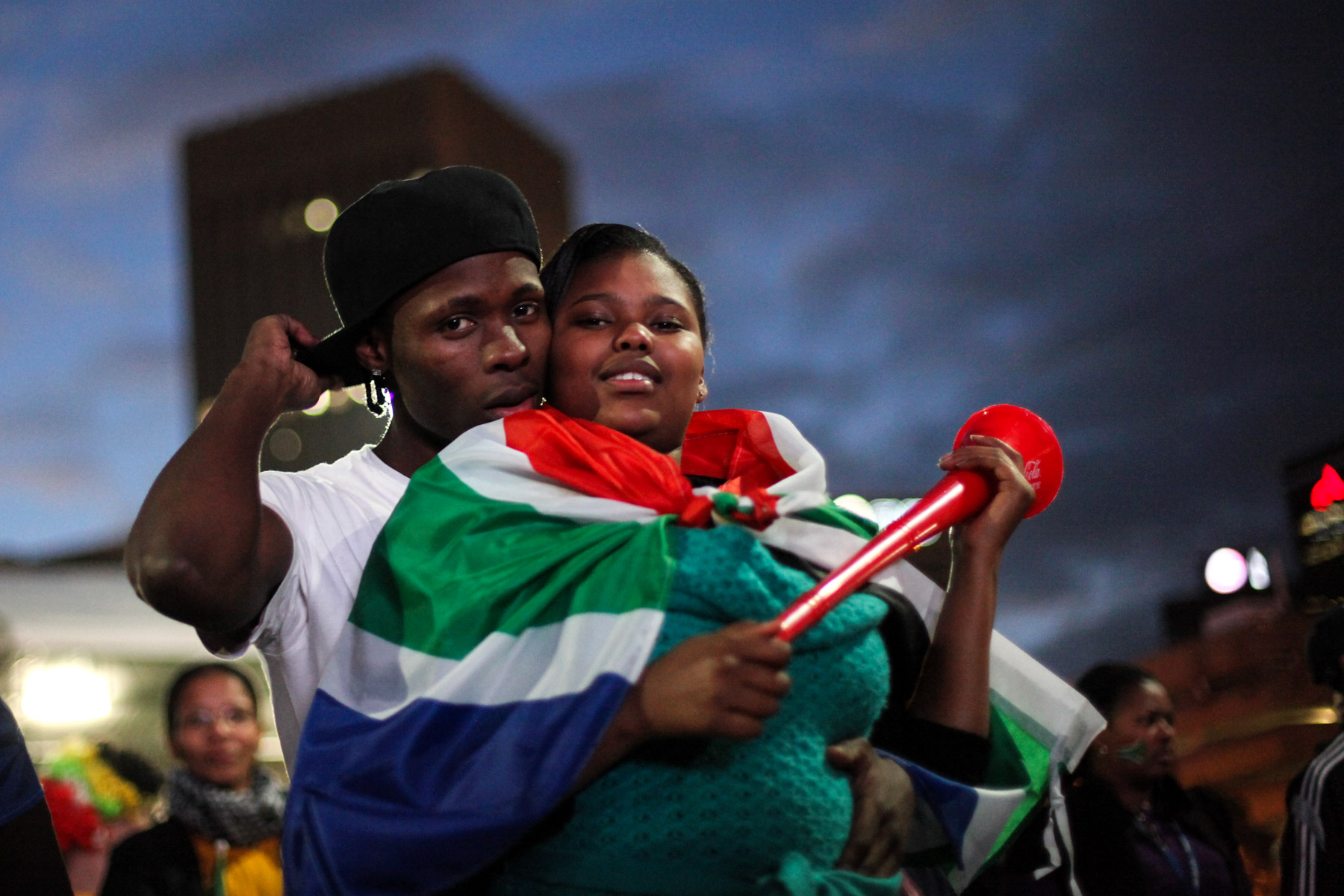 16 June 2010: Spectators gather at a fan viewing area in Cape Town for Bafana Bafana's group stage match against Uruguay. (Photograph by Dan Kitwood/ Getty Images)