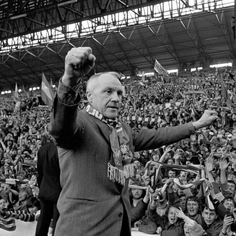 27 April 1973: Legendary manager Bill Shankly turns towards the Kop end of the Anfield stadium during an ovation from fans, who idolised him when Liverpool became English Premier League champions. (Photograph by PA Images via Getty Images)