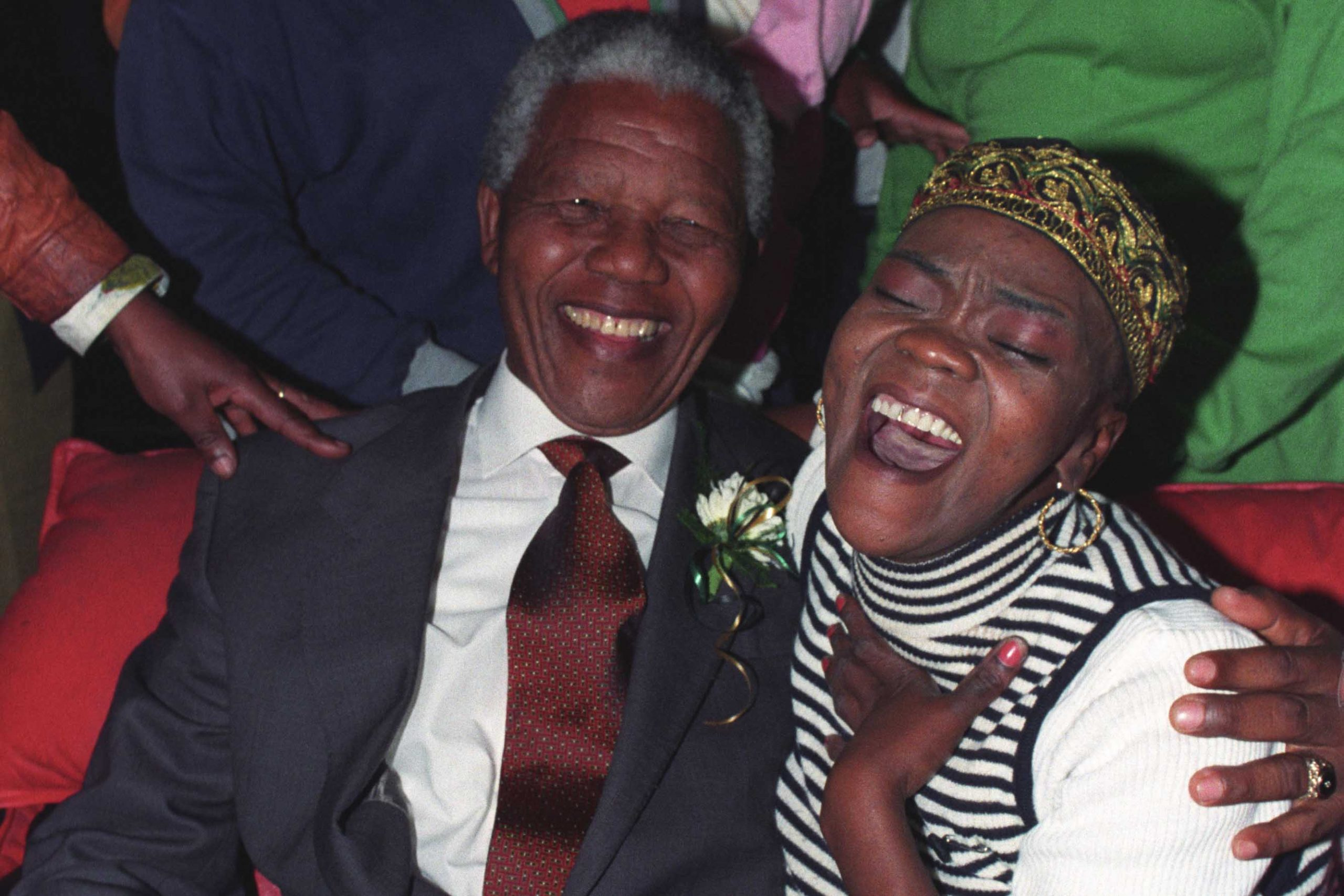 14 August 1993: Singer Brenda Fassie spends time in her home in Langa with Nelson Mandela. In May 2004, at the age of 40, Fassie suffered a severe asthma attack that triggered a fatal cardiac arrest. (Photograph by Gallo Images/ Oryx Media Archive)