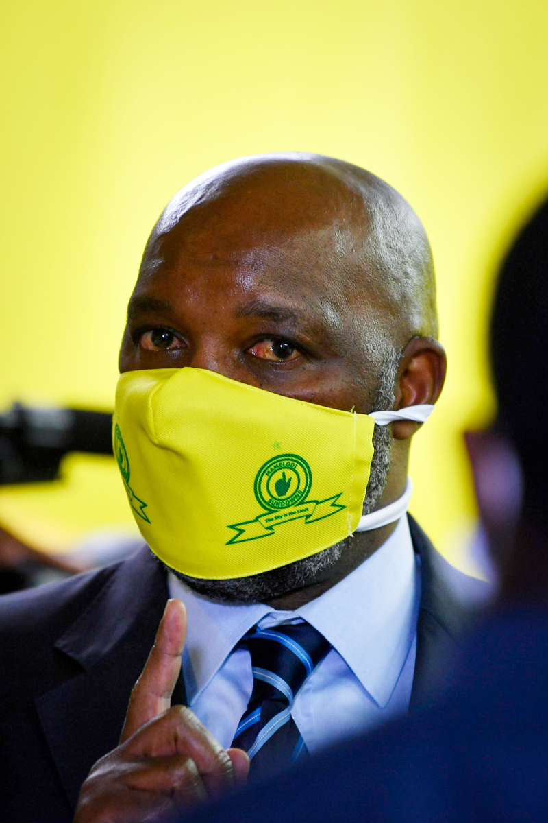 21 May 2020: Coach Pitso Mosimane during Mamelodi Sundowns' 50th anniversary announcements amid the Covid-19 pandemic in Sandton, Johannesburg. (Photograph by Lefty Shivambu/ Gallo Images)