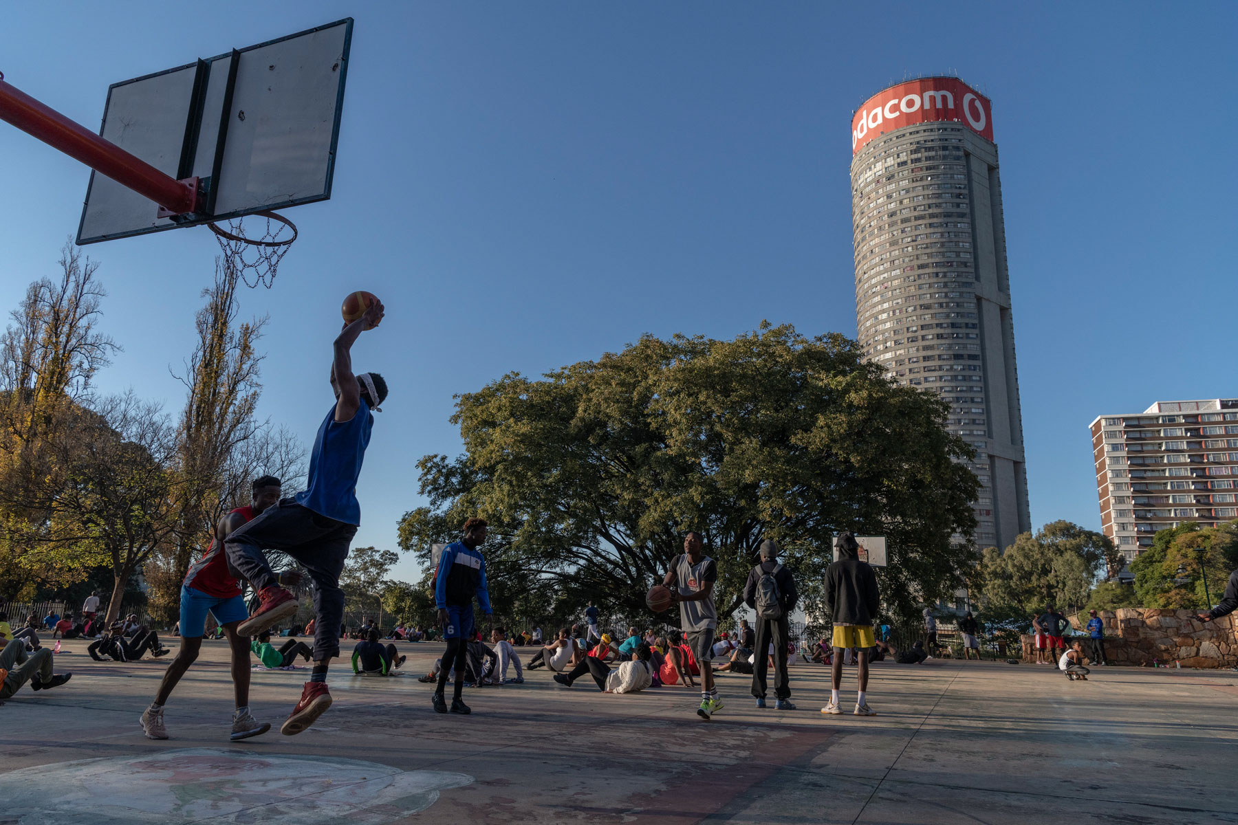 12 May 2020: An early morning game of basketball played in the shadow of Ponte Tower.