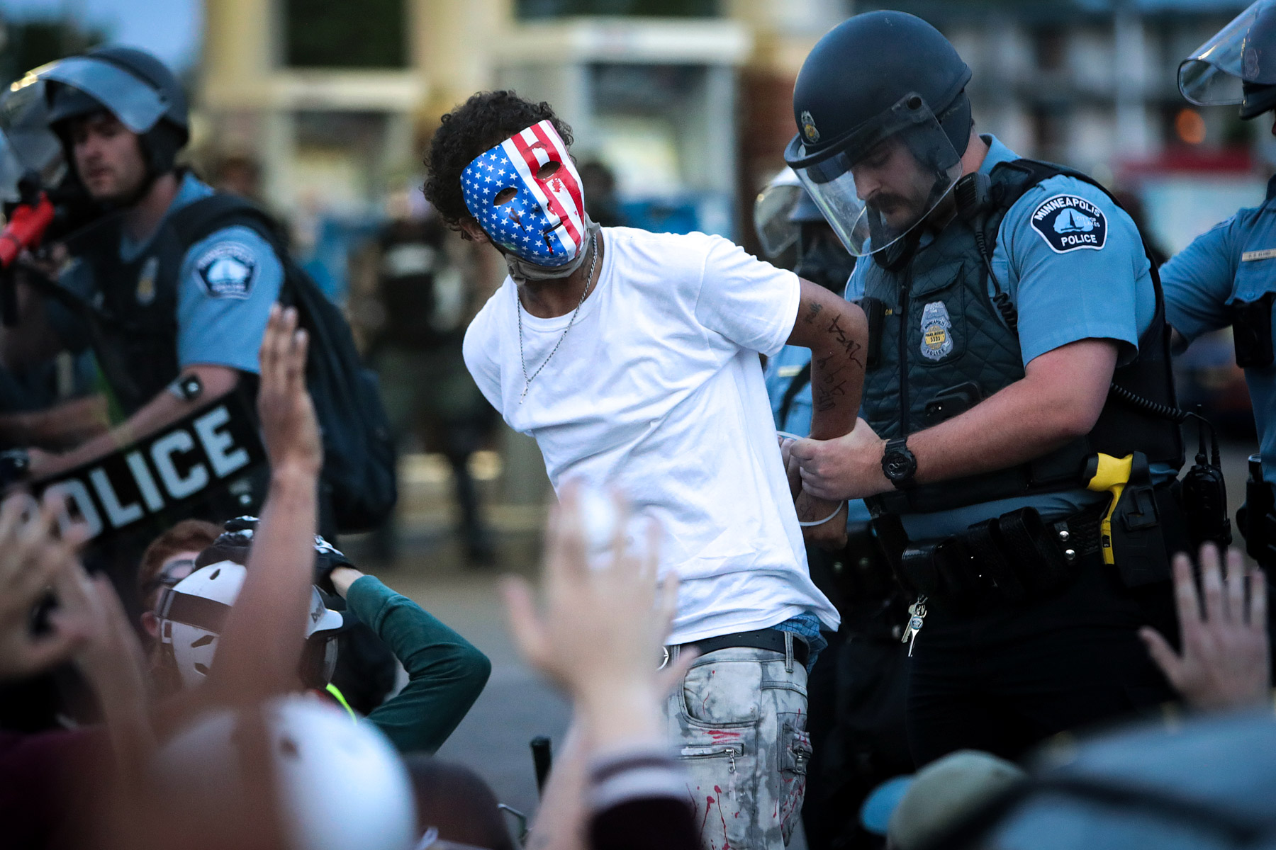 31 May 2020: A demonstrator is arrested during a protest against police brutality in Minneapolis, Minnesota, where George Floyd was killed. Protests continue in cities throughout the country. (Photograph by Scott Olson/ Getty Images)