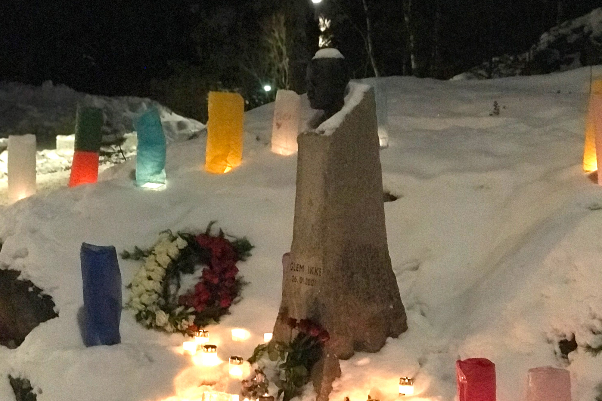 26 January 2018: Benjamin Hermansen's memorial statue in Holmlia, a suburb in eastern Oslo, Norway. (Photograph by Sindre Bangsta)