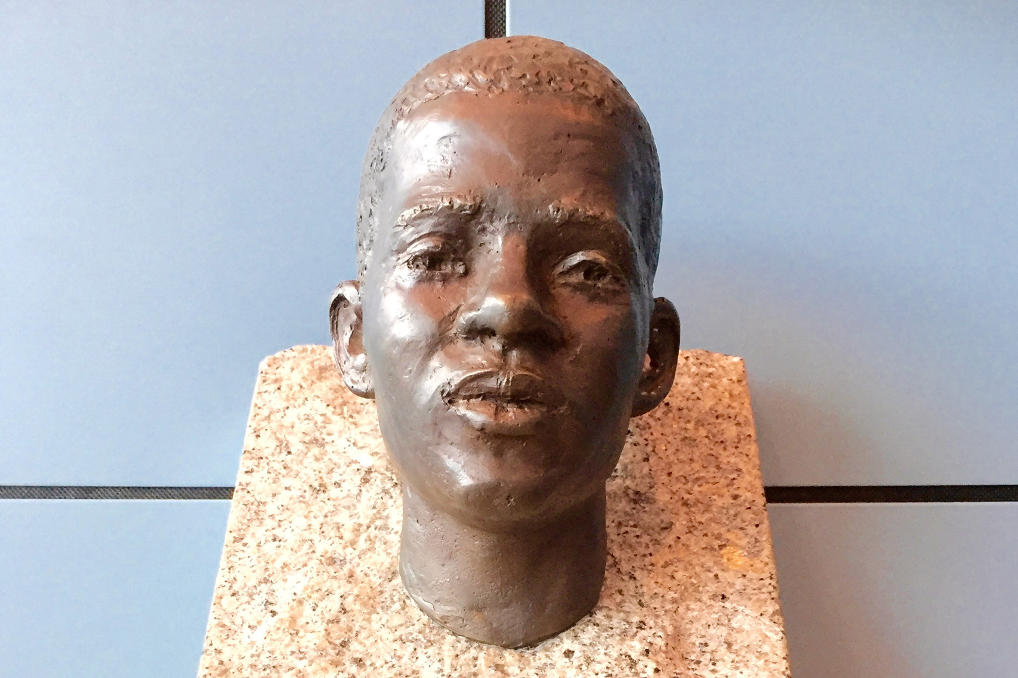 30 August 2016: The Benjamin Prize, a bust by Ivar Sjaastad, is awarded each year to a school that excels in its work to combat racism and discrimination. Benjamin's mother, teacher Marit Hermansen, was a member of the judging committee until her death in 2019. (Photograph by Kuben yrkesarena, Wikimedia Commons)