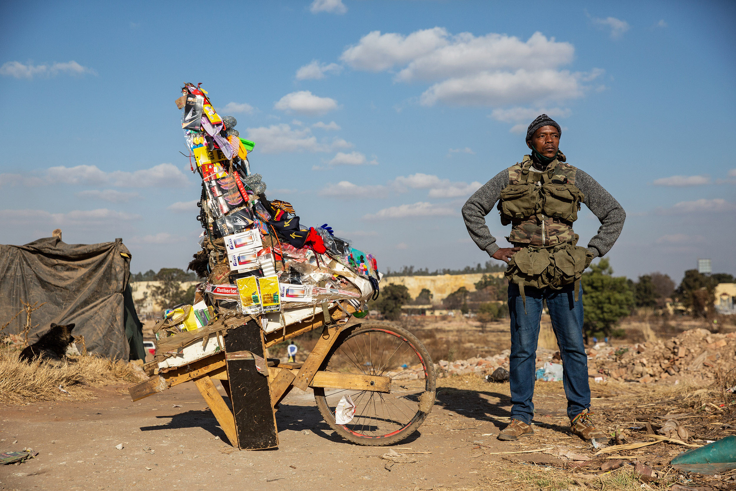 9 July 2020: Gift Shingange has been a travelling salesman in Makause for seven years. He sells all sorts of trinkets from  his custom-made trolley. He also performs ear piercings, fixes watches and punches extra holes in belts.