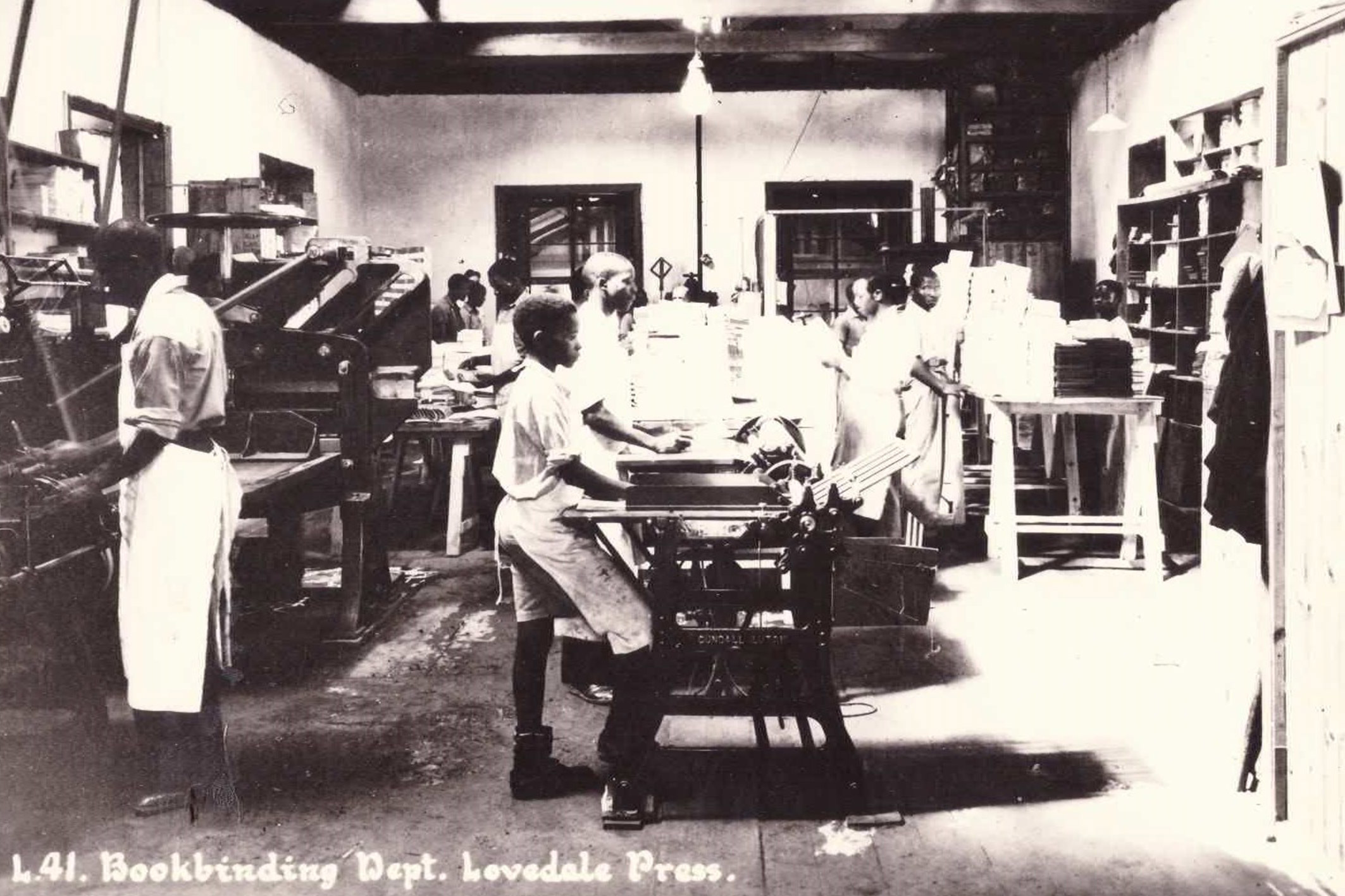 Undated: Lovedale Press continued to train and employ black people during apartheid, championing the creation of a class of black printers and bookbinders. (Image courtesy of Amathole Museum, King William's Town)