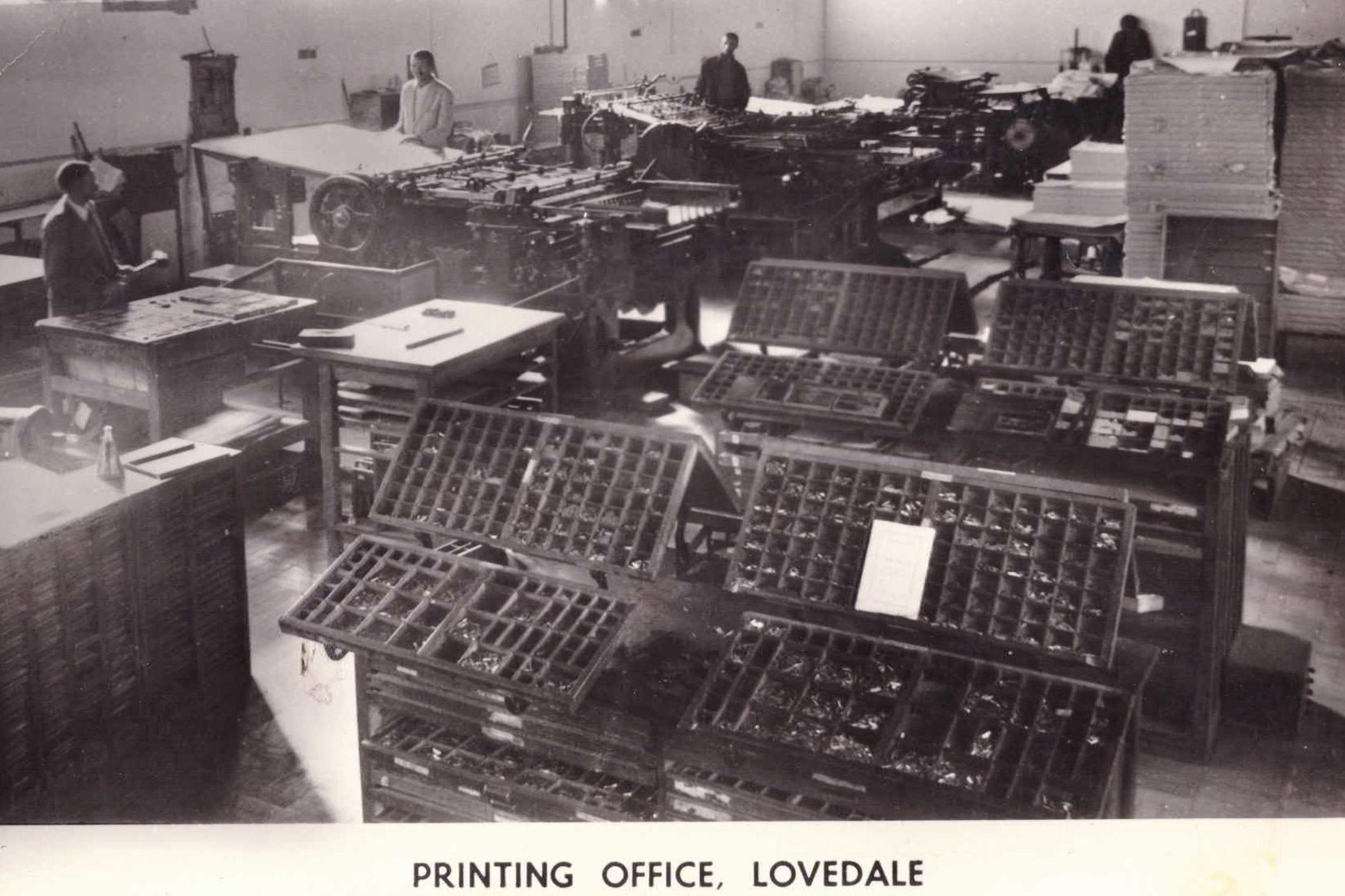 Undated: The printing office at Lovedale Press, which publishes literature, journals, newspapers and school textbooks. (Image courtesy of Amathole Museum, King William's Town)
