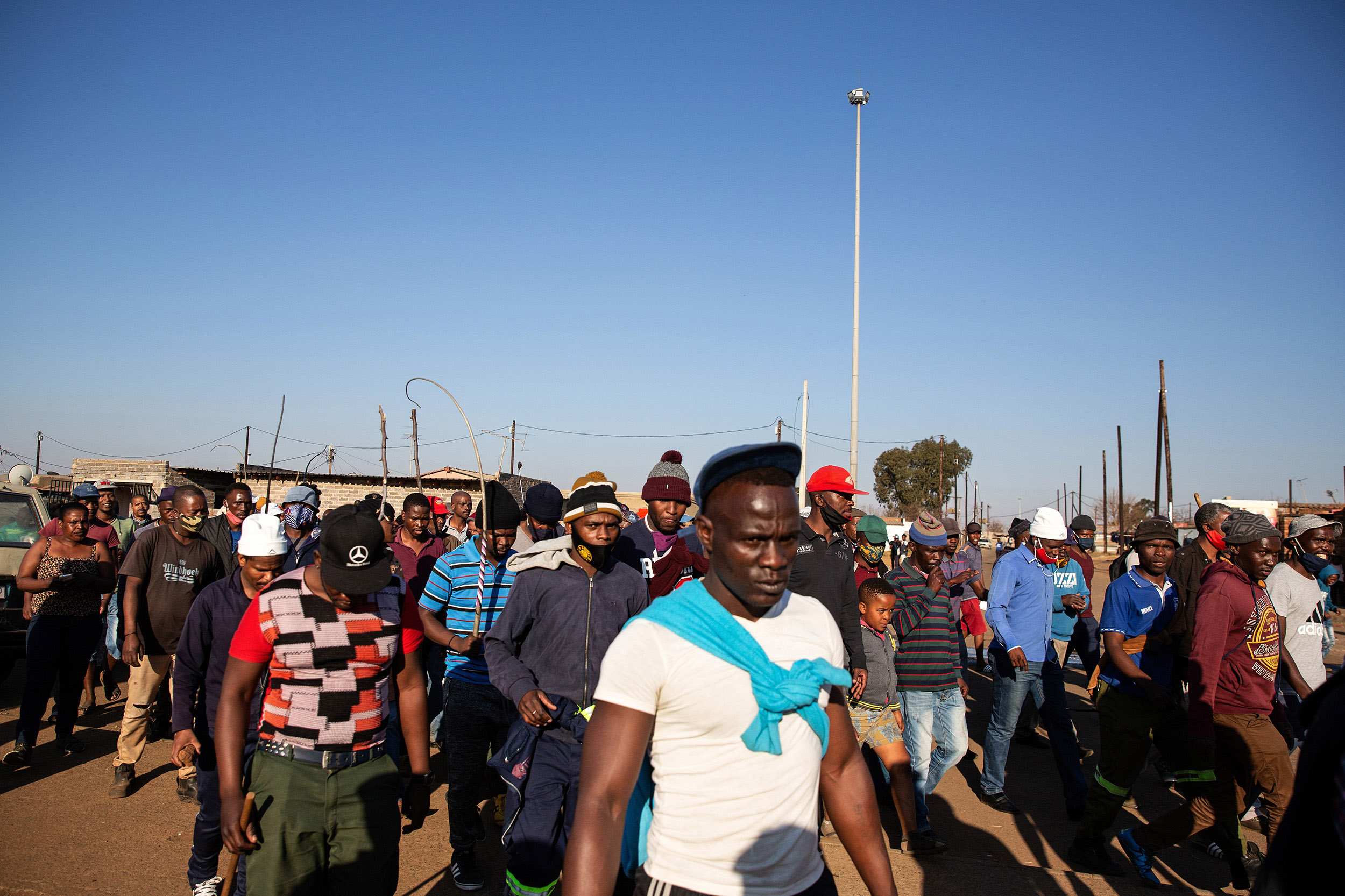 7 July 2020: Children joined the group of people singing xenophobic songs as they marched through Thokoza.
