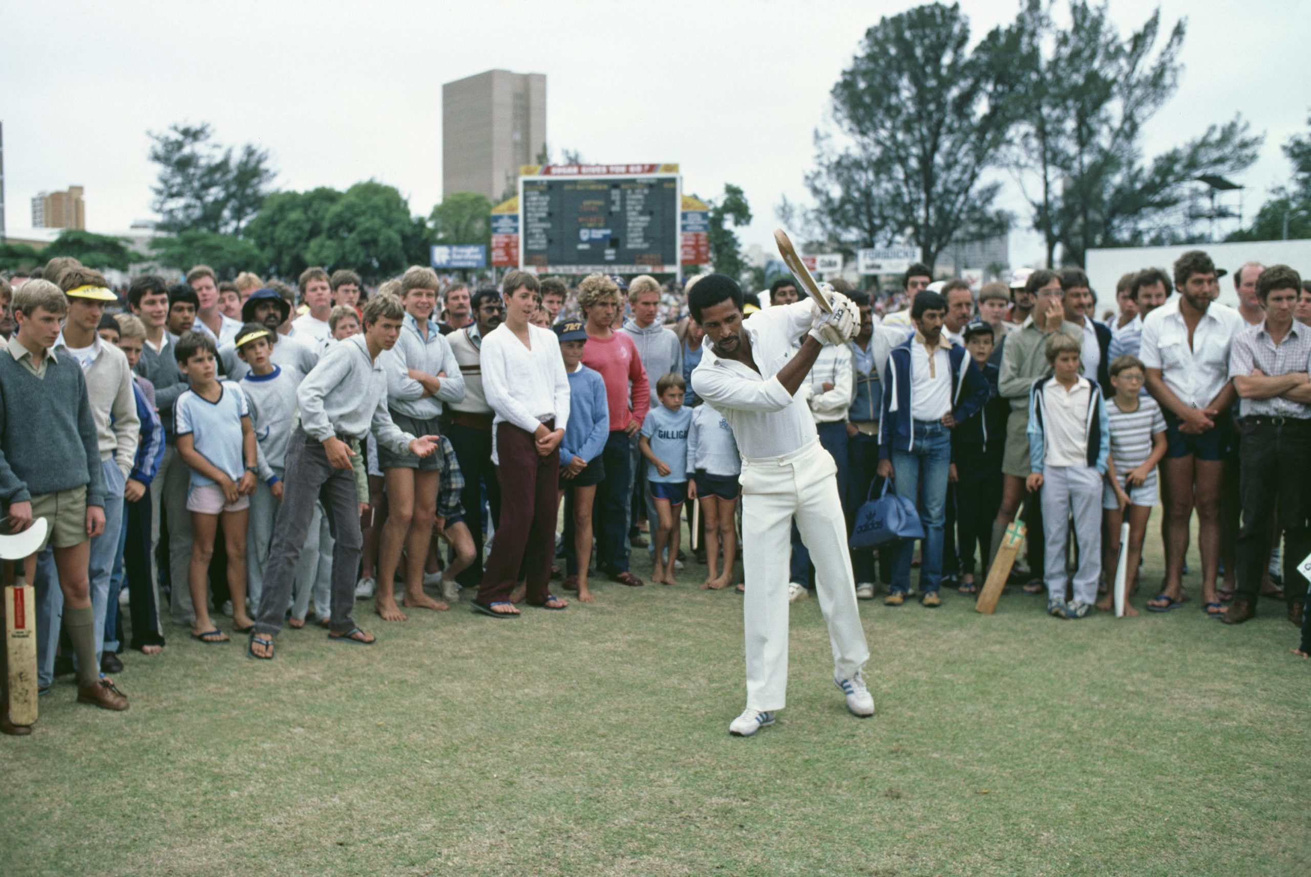 February 1983: Bernard Julien of the rebel West Indies XI in Durban for a one-day international during the team's tour of South Africa, despite a ban on international sports owing to apartheid. The rebel tourists were handed lifetime bans from playing cricket for breaking the international sports boycott imposed on South Africa. (Photograph by Adrian Murrell/ Getty Images)