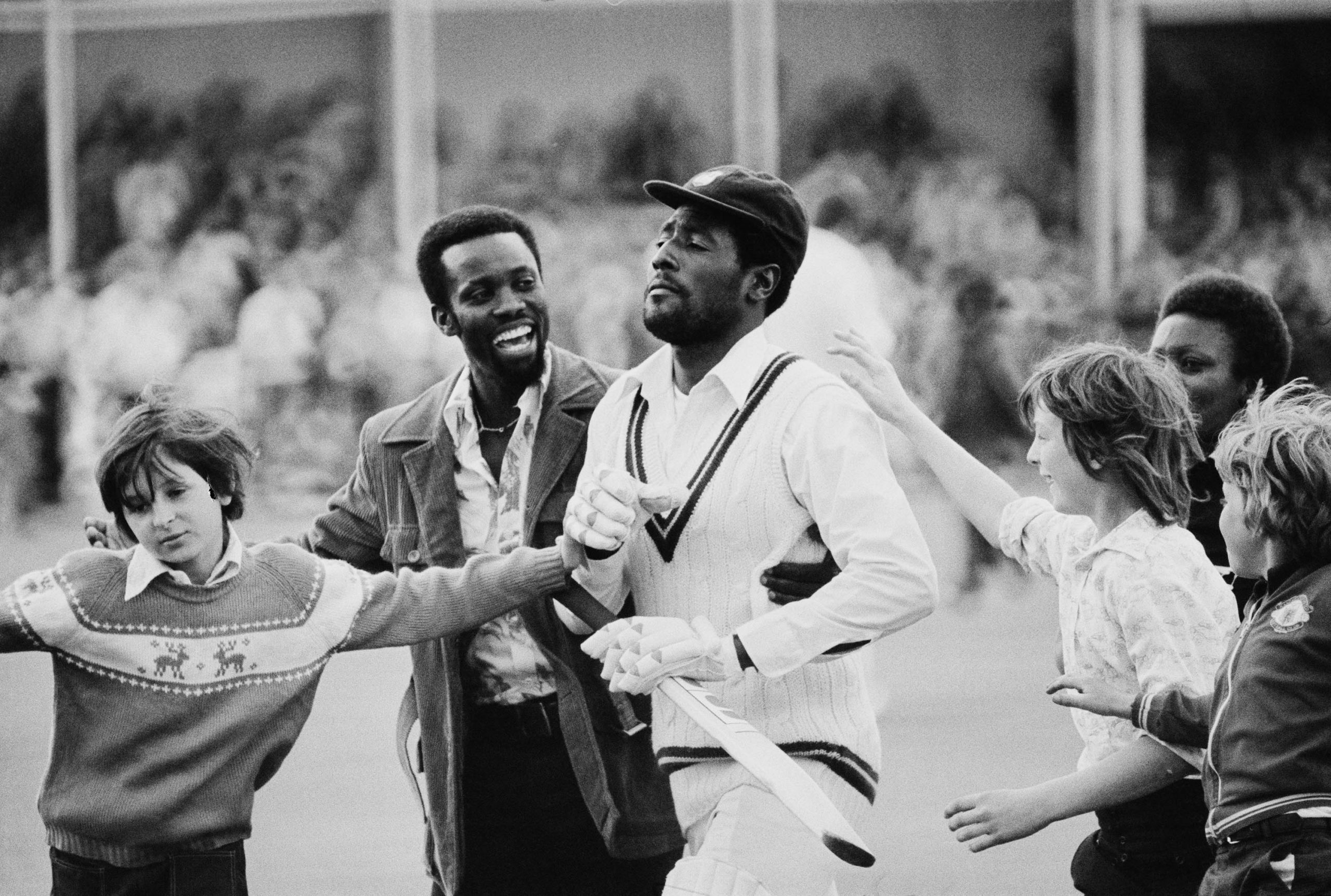 3 June 1976: Fans greet West Indies cricketer Vivian Richards at Trent Bridge, Nottingham, after the first Test of the West Indies' tour of England. (Photograph by Wood/ Evening Standard/ Hulton Archive/ Getty Images)