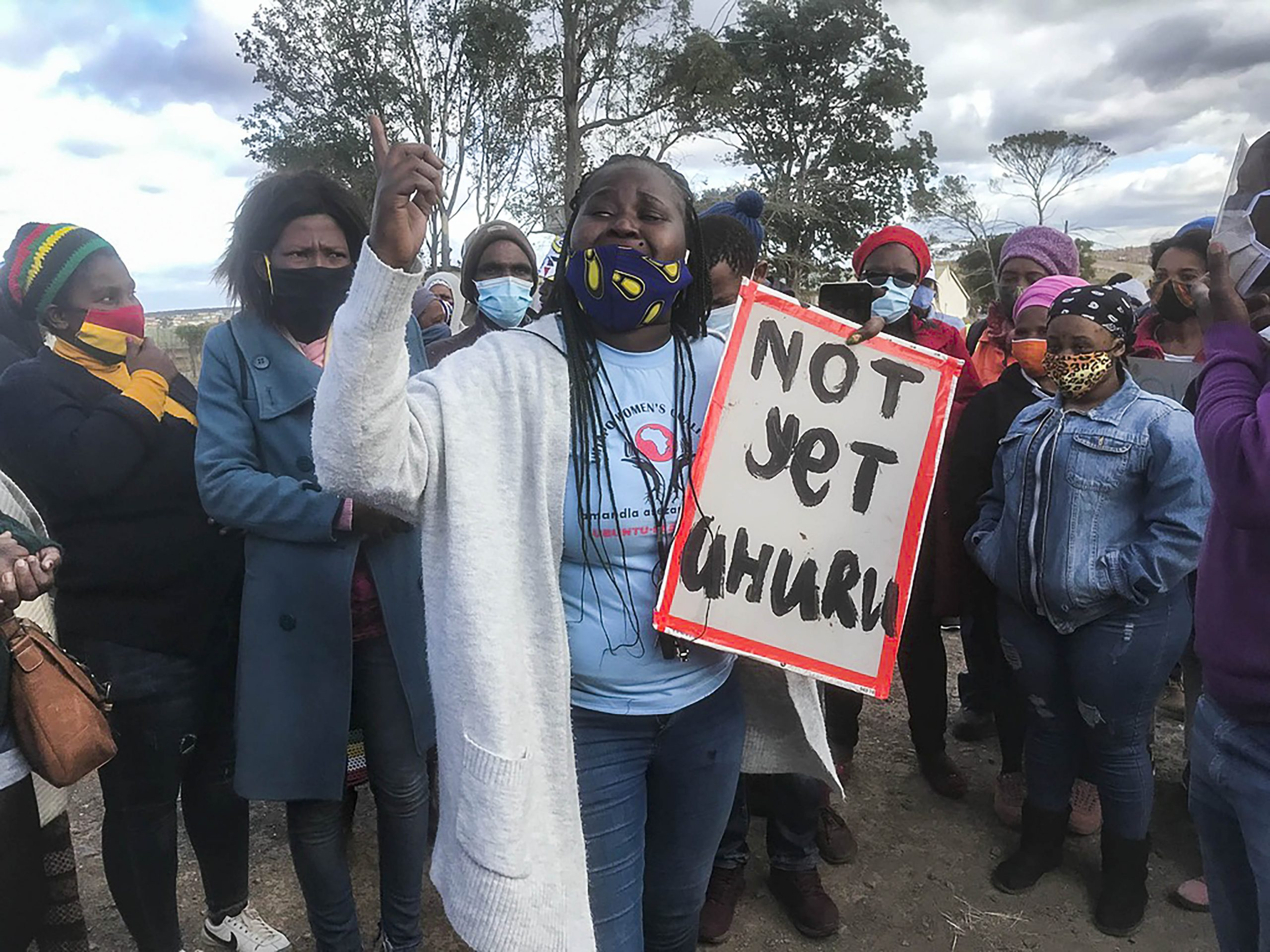 7 July 2020: A distraught Athini Ngxumza addresses protesters during the water strike alongside the N2 highway after police officers fired tear gas into the crowd.