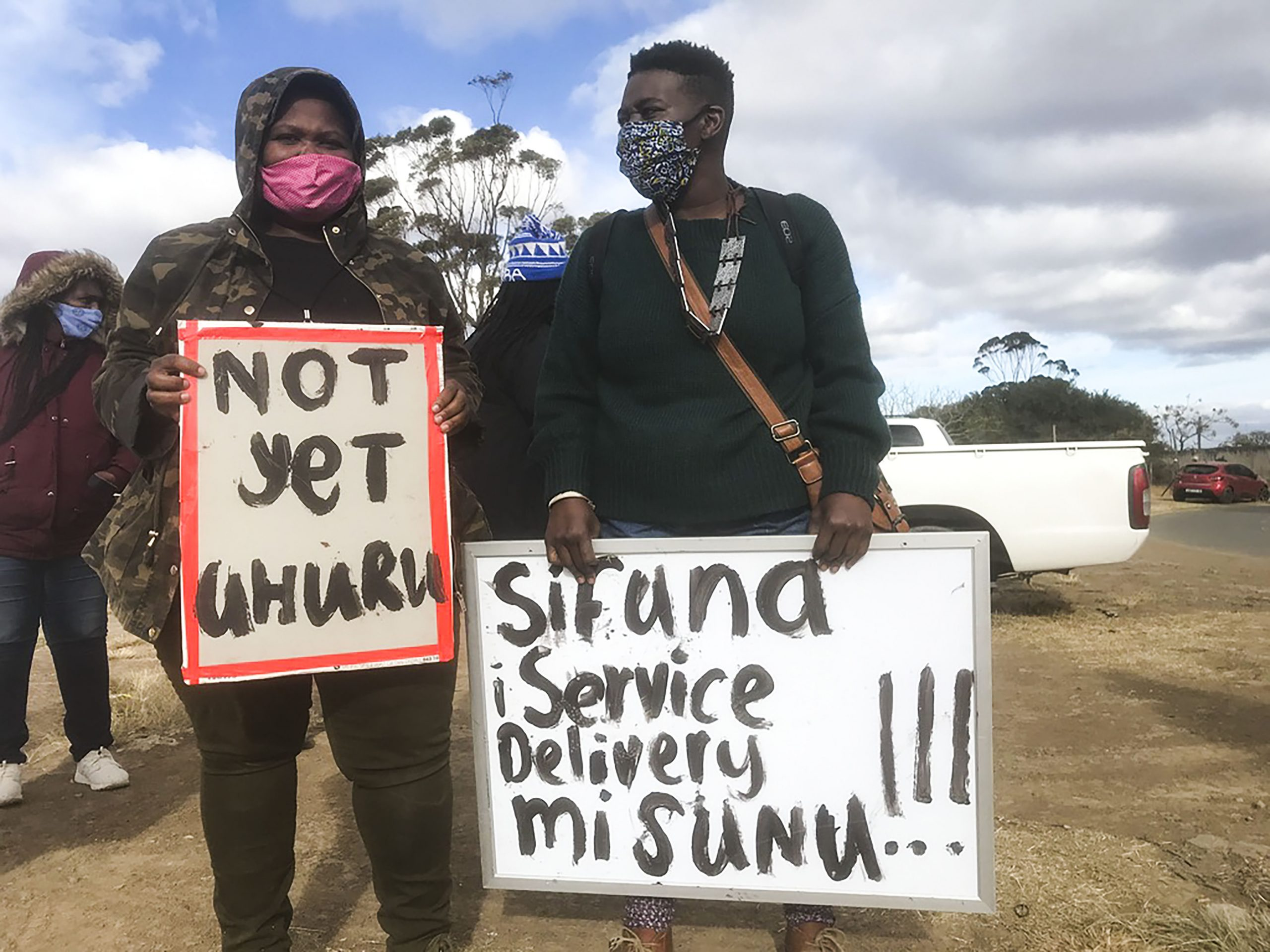 7 June 2020: From left, the police arrested protesters Phumeza Macwili and Samkela Stamper.