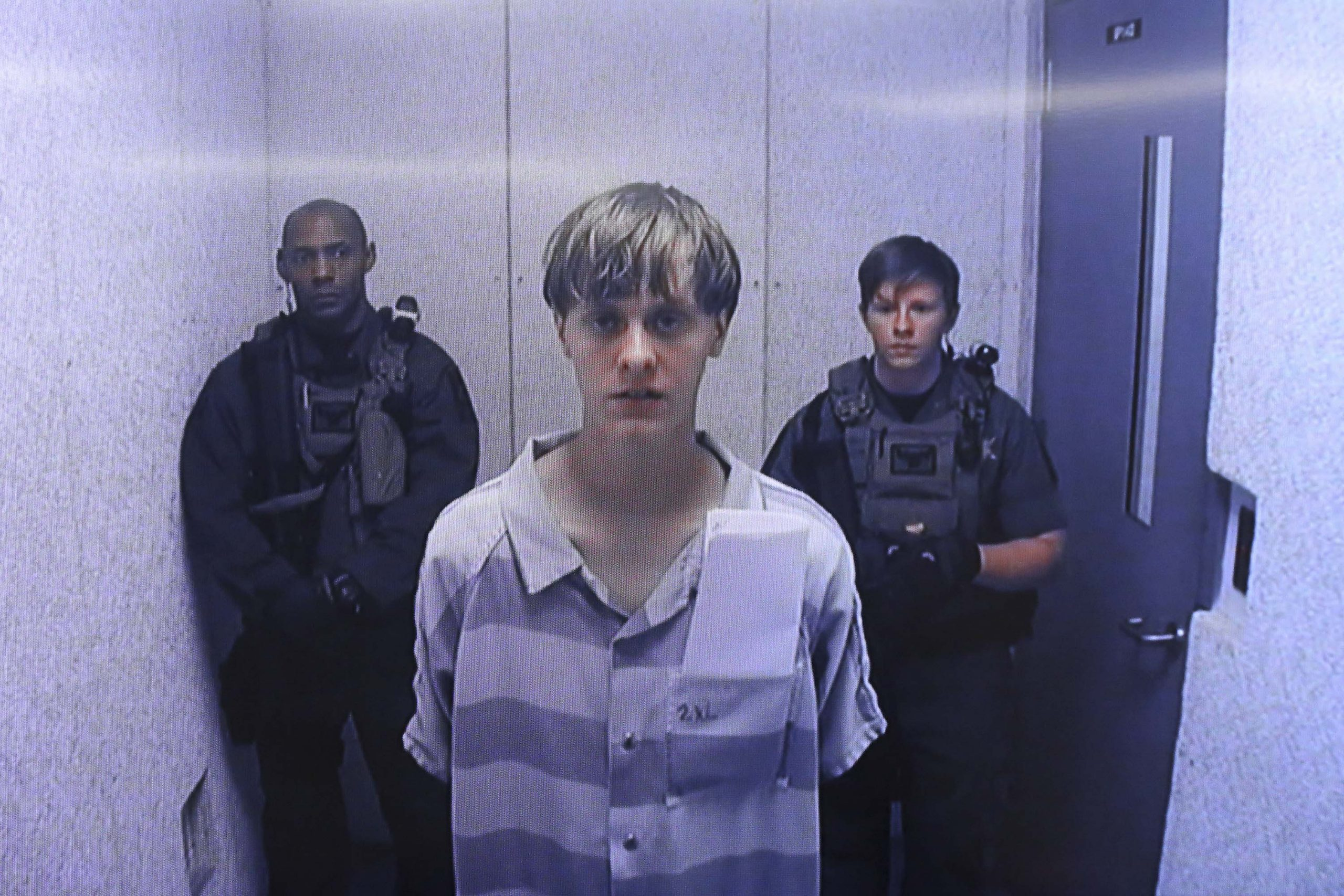 19 June 2015: Dylann Roof killed nine people at the Emanuel African Methodist Episcopal Church in Charleston, South Carolina. This image is from the video uplink from the detention centre to the courtroom. (Photo by Grace Beahm-Pool/ Getty Images)