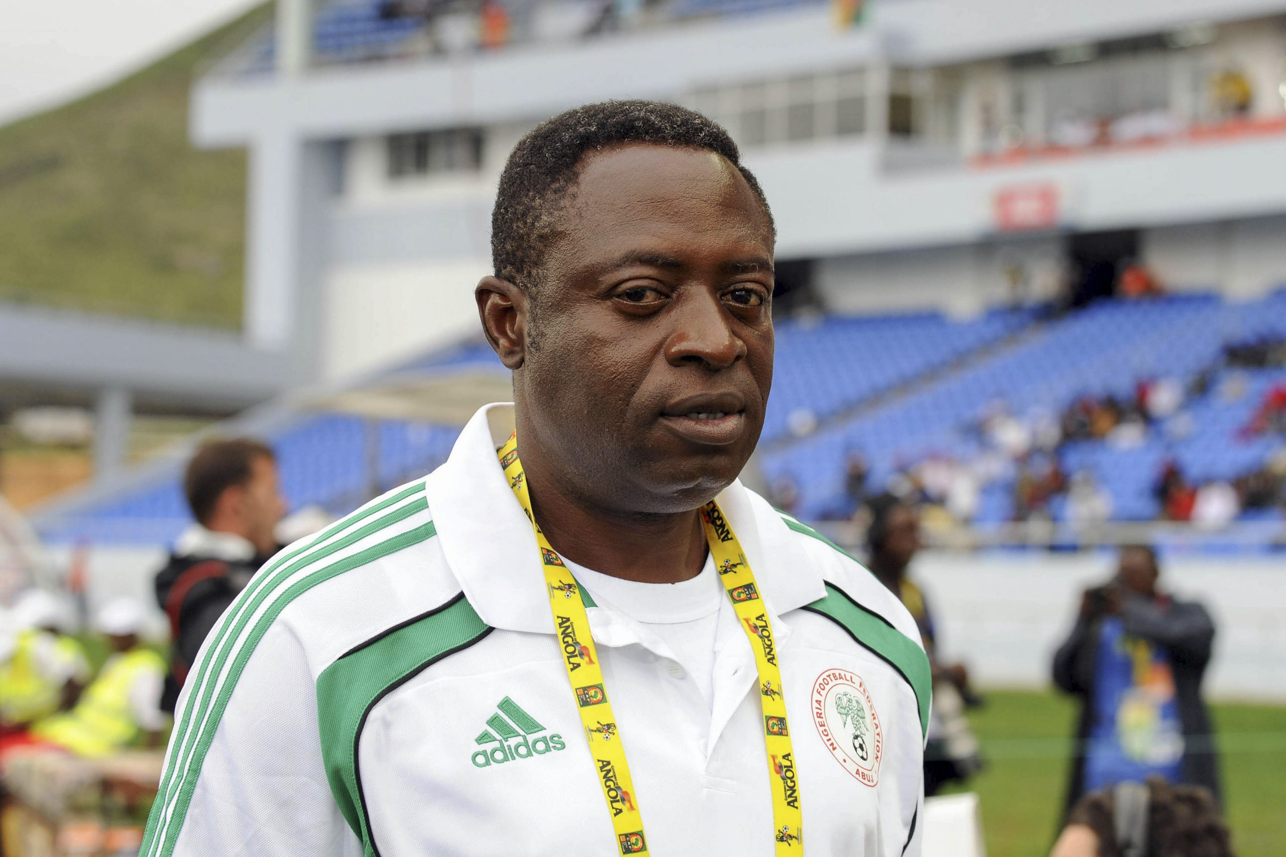 20 January 2010: Shaibu Amodu coached Nigeria during the 2010 African Nations Cup. Here he is photographed in Lubango, Angola, ahead of a Group C match against Mozambique. (Photograph by Lefty Shivambu/ Gallo Images/ Getty Images)