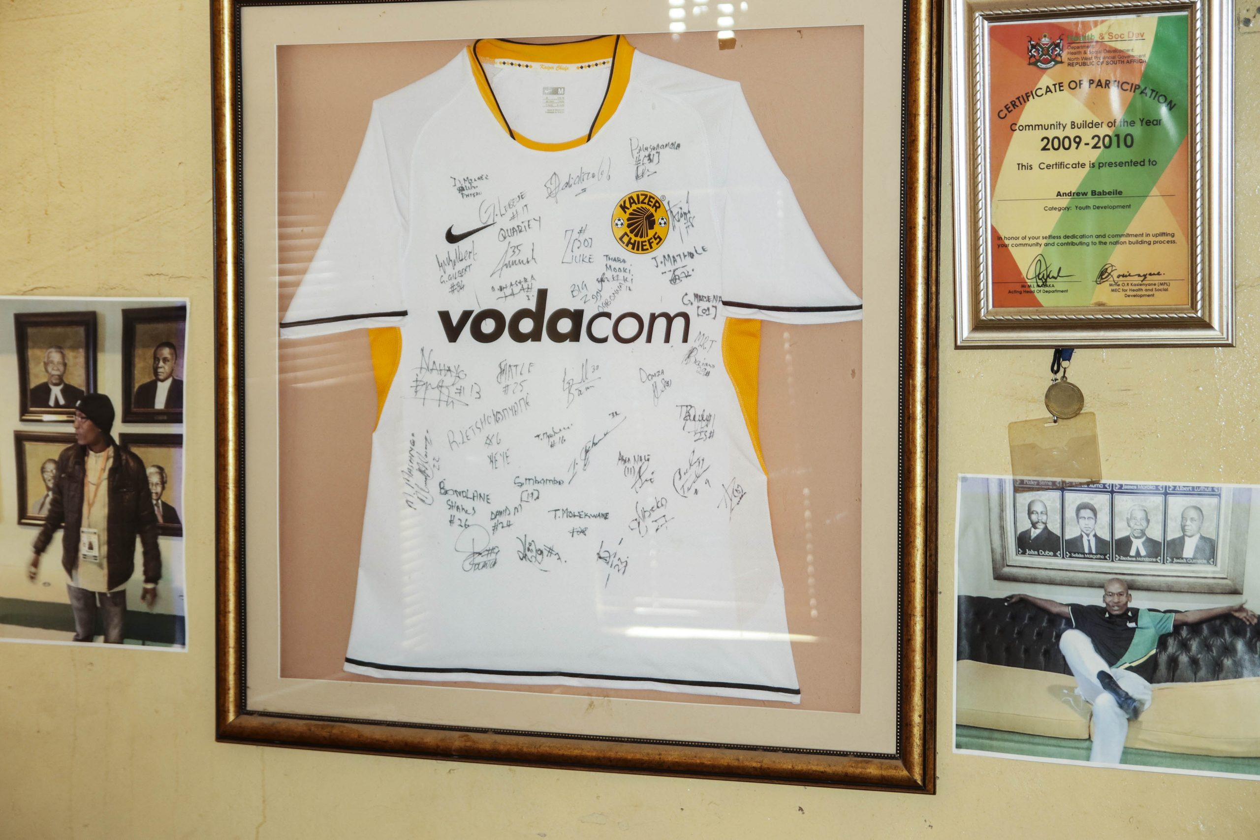 19 July 2020: Among the memorabilia in Babeile's house is this signed Kaizer Chiefs jersey he got after his foundation organised a tournament in Vryburg in 2017 featuring the club's under-19 team.