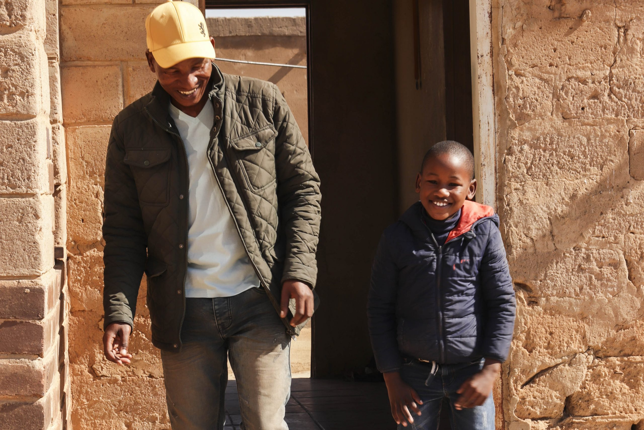 19 July 2020: Andrew Babeile with his six-year-old son, Tlotlego Segeri.