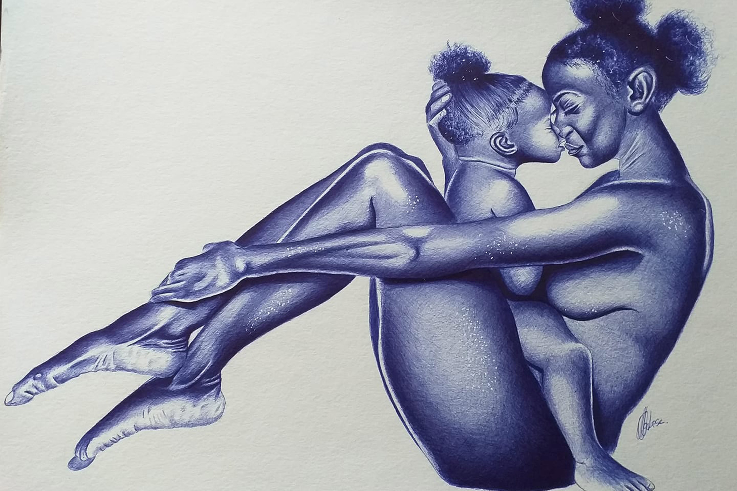 15 Jan 2020: A mother and daughter depiction titled Mother-Child Bond. The artist adds: 'They are comfortable in the blue of their skin.' (Photograph supplied)