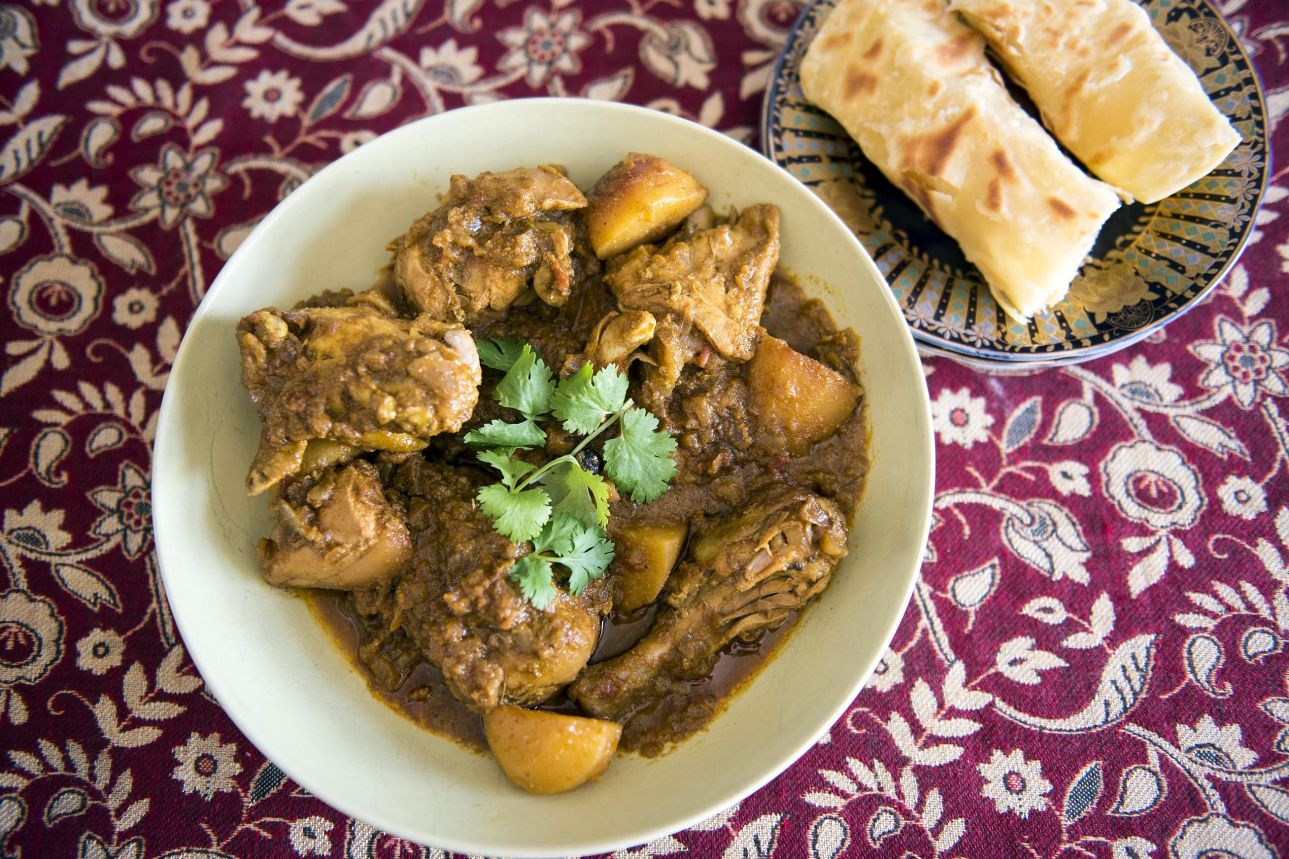 Undated: Cape Malay chicken curry served with roti. (Photograph by Ishay Govender)