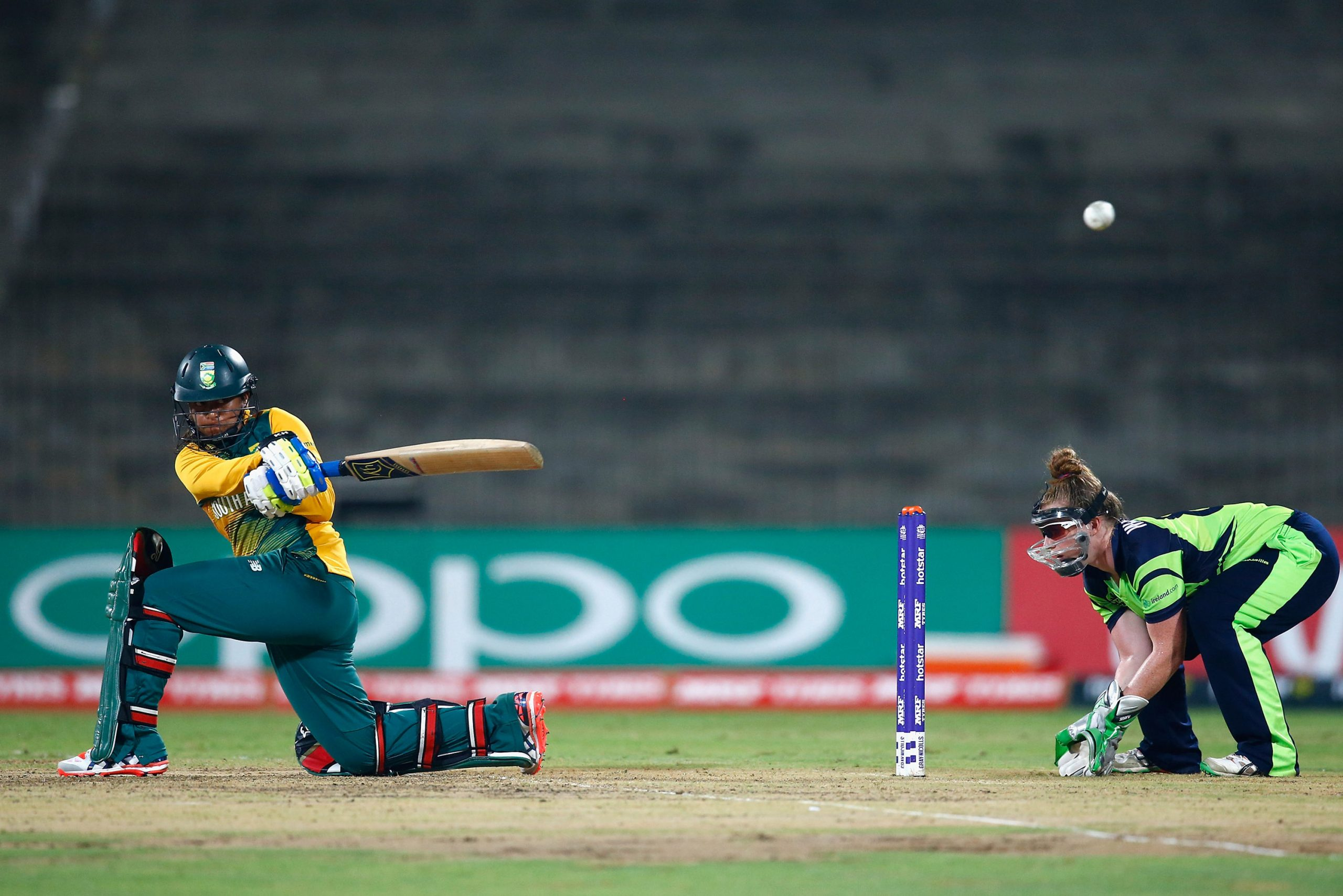 23 March 2016: Dinesha Devnarain sweeps powerfully against Ireland during the ICC Women's T20 World Cup in India. Initially a bowler, she taught herself to bat and made it into the top order, becoming an international allrounder. (Photograph by Christopher Lee-ICC/ ICC via Getty Images)