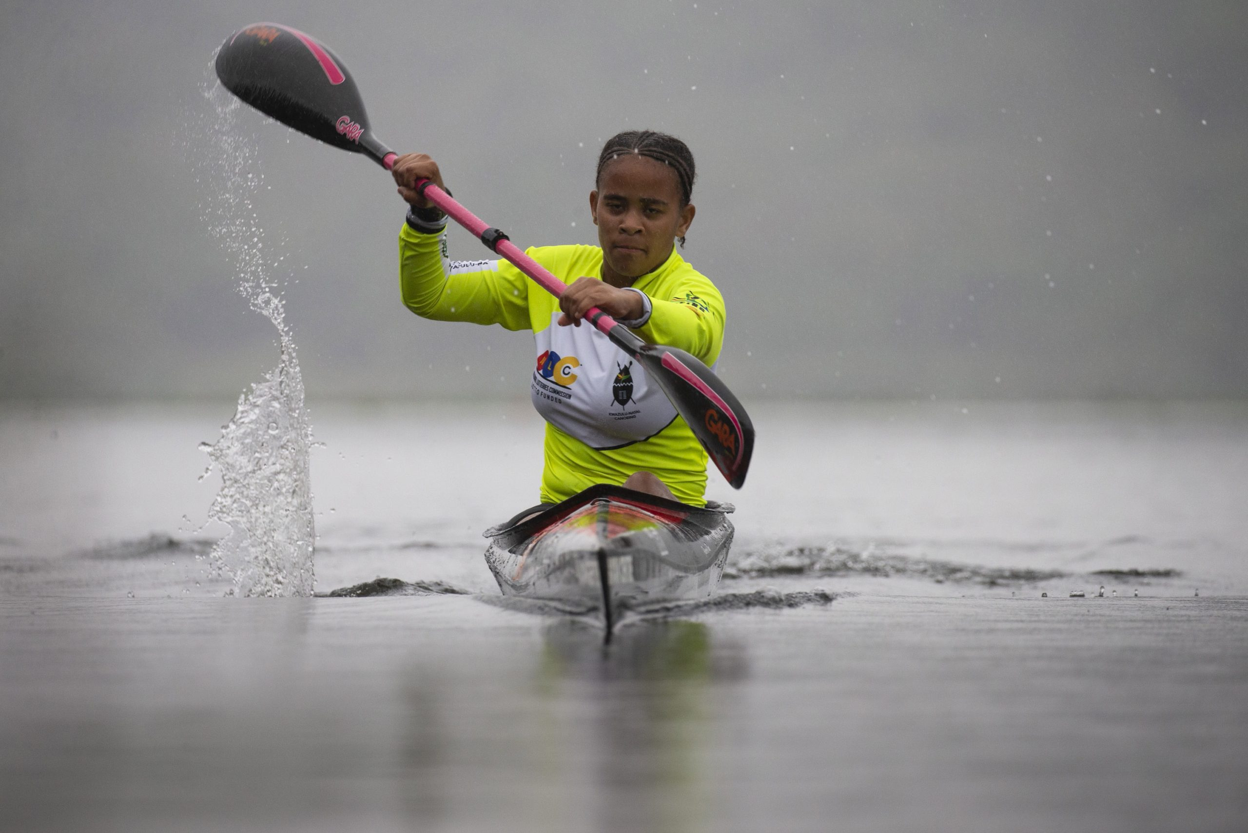 8 October 2019: Nosipho Mthembu training on the Shongweni Dam. (Photograph by Gallo Images/ Sunday Times/ Rogan Ward)