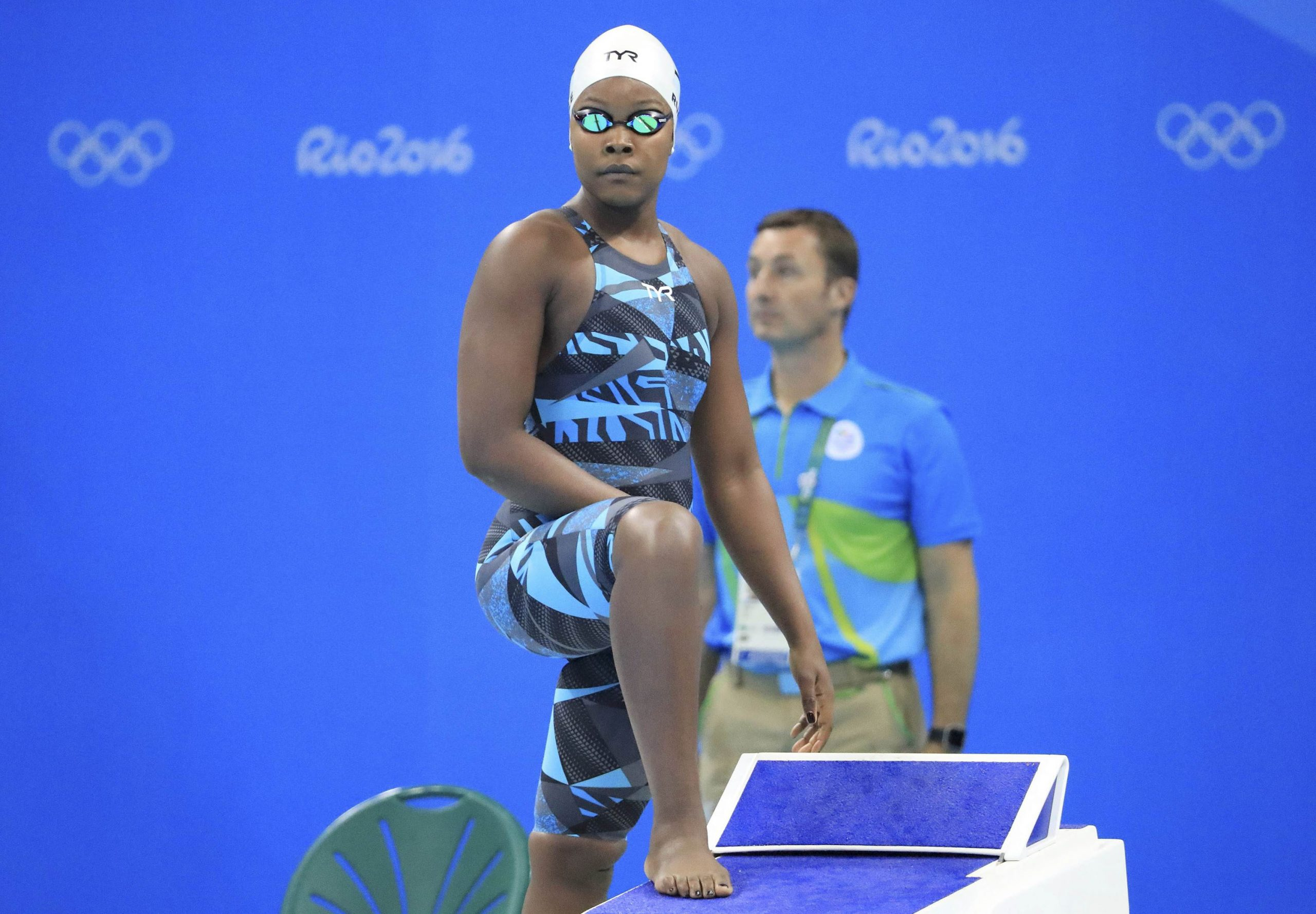 12 August 2016: Naomi Ruele on the starting block for the women's 50m freestyle heats at the 2016 Olympics in Rio de Janeiro, Brazil. (Photograph by Dominic Ebenbichler/ Reuters)