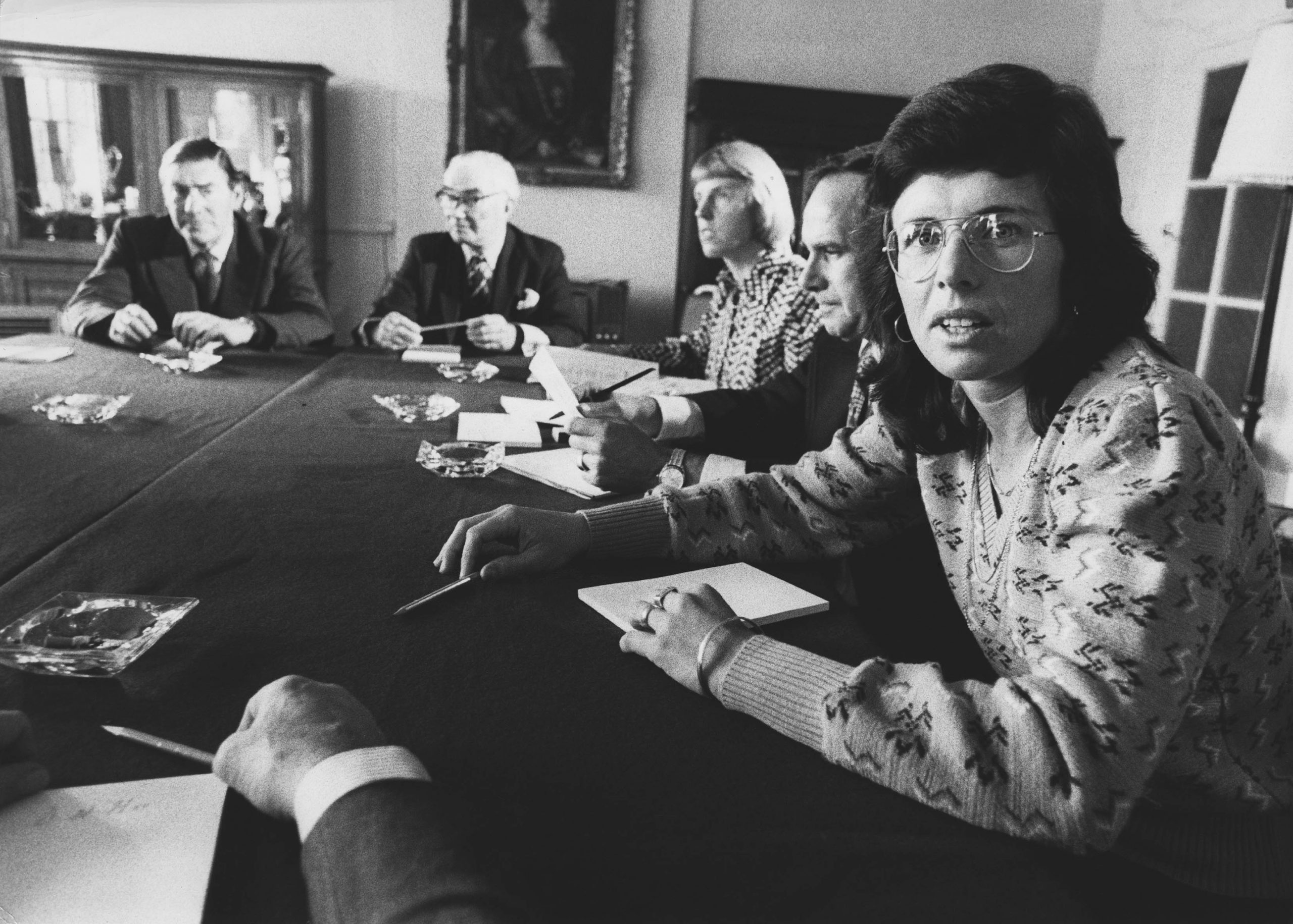 26 February 1975: Women's Tennis Association president Billie Jean King (right) meets with an All England Club committee. The meeting resulted in an increase in prize money for women to 70-80% percent of the men's and the promise of an annual review. King has been advocating for the tours to merge for decades. (Photograph by Daily Express/ Archive Photos/ Getty Images)