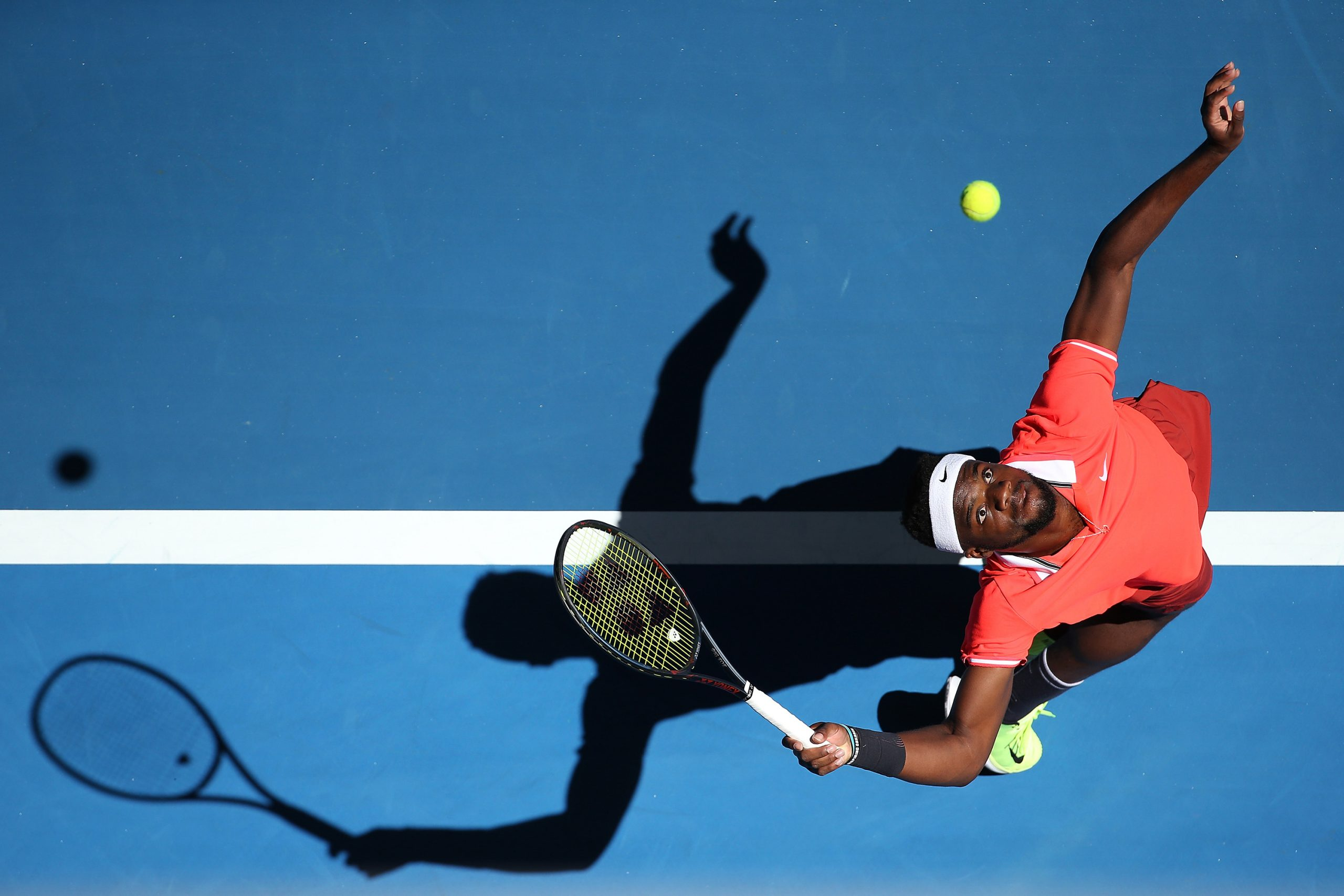 31 December 2018: Frances Tiafoe of the United States serves to Stefanos Tsitsipas of Greece at the 2019 Hopman Cup in Perth, Australia. 'It could have been the likes of any of my loved ones,' said Tiafoe of George Floyd's killing. 'It could have been me.' (Photograph by Paul Kane/Getty Images)