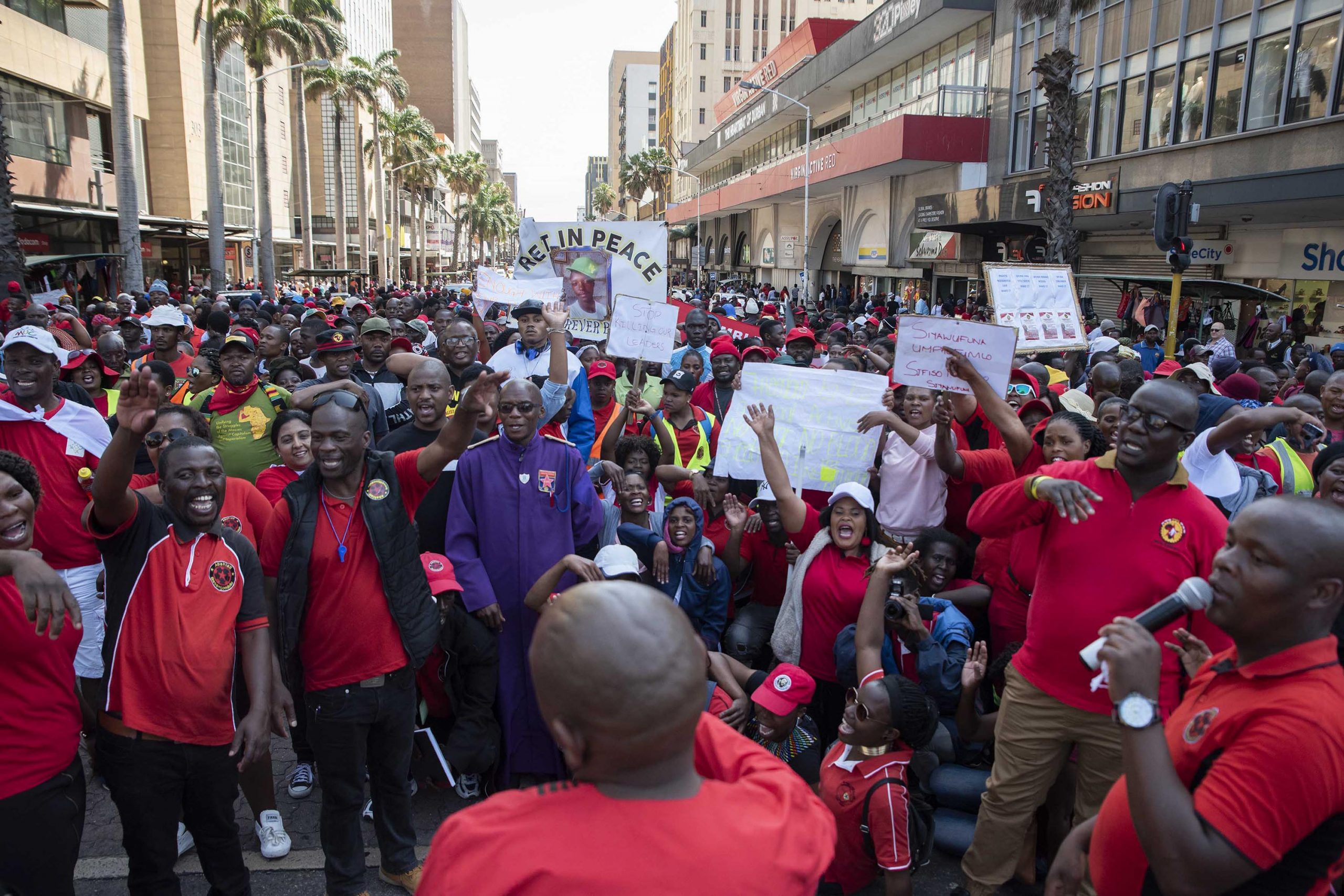 8 October 2018: Abahlali baseMjondolo members march in Durban in protest against politically motivated killings. (Photograph by Madelene Cronjé)