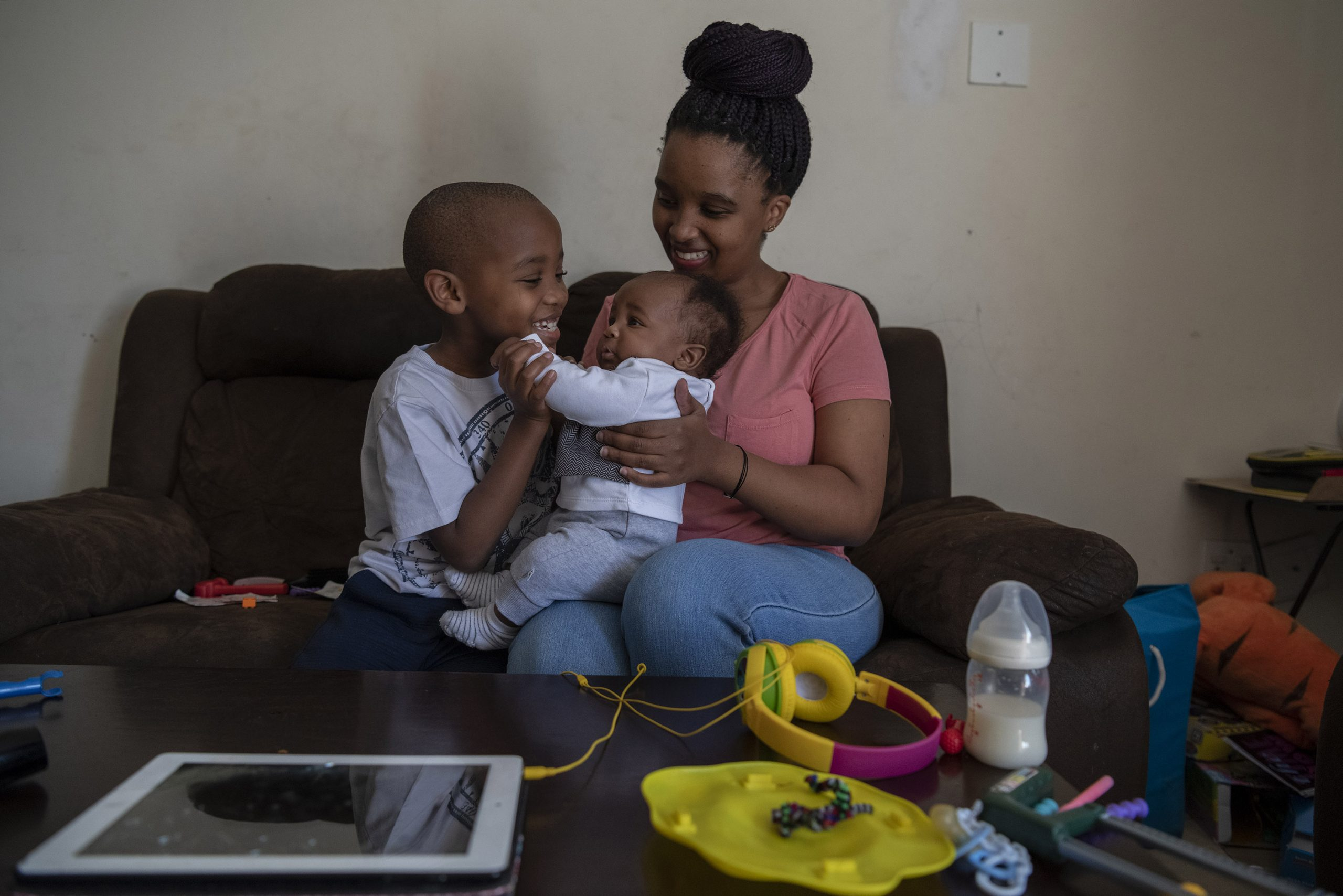 13 August 2020: From left, seven-year-old Esethu plays with his baby brother Khaya. Thembeka Sibiya is concerned that her newborn son will not enjoy the same social life as his brother.