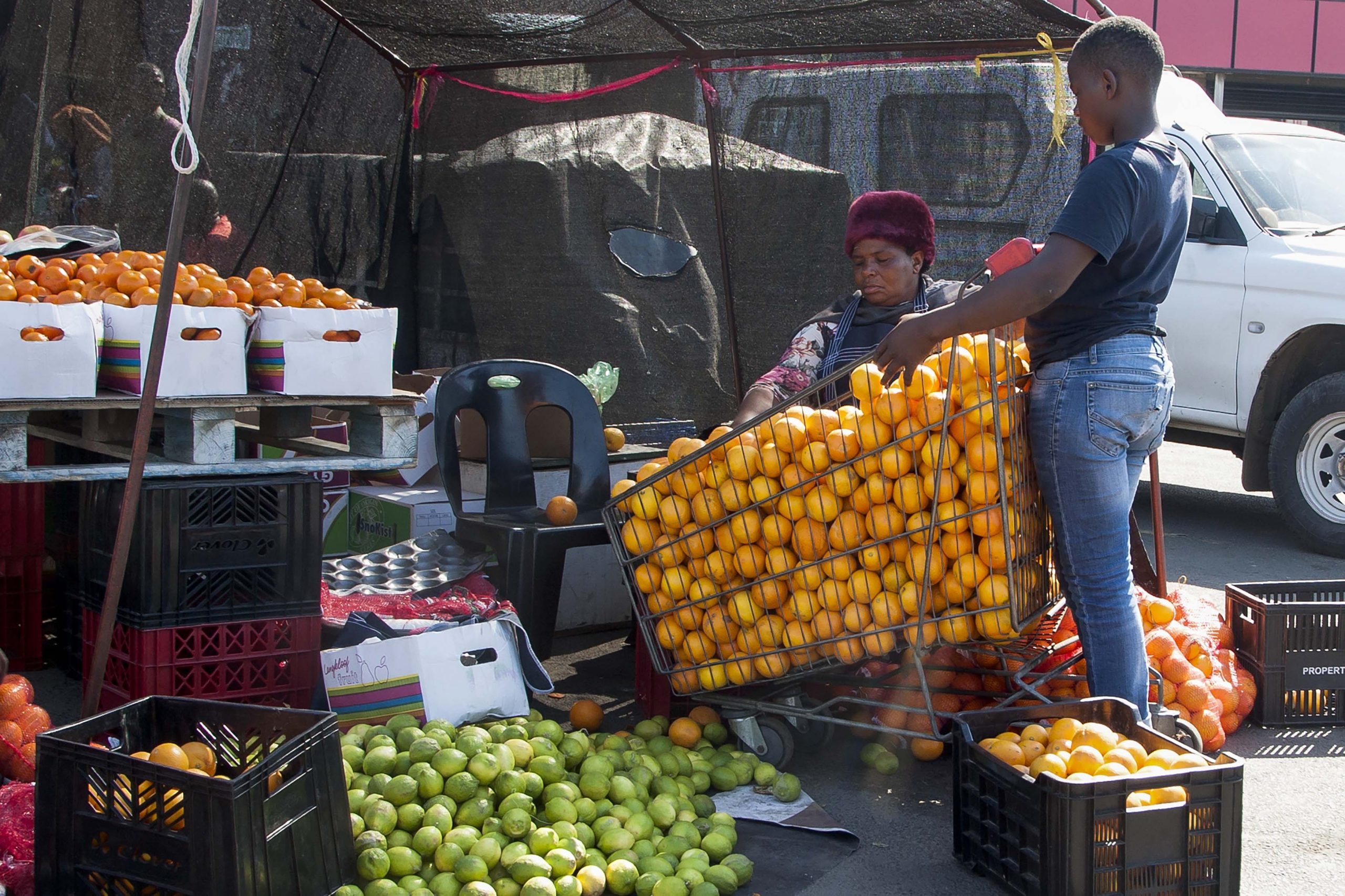 4 August 2020: Senzeni Biyela supports his family with the proceeds from his fruit stall in Richards Bay's central business district.