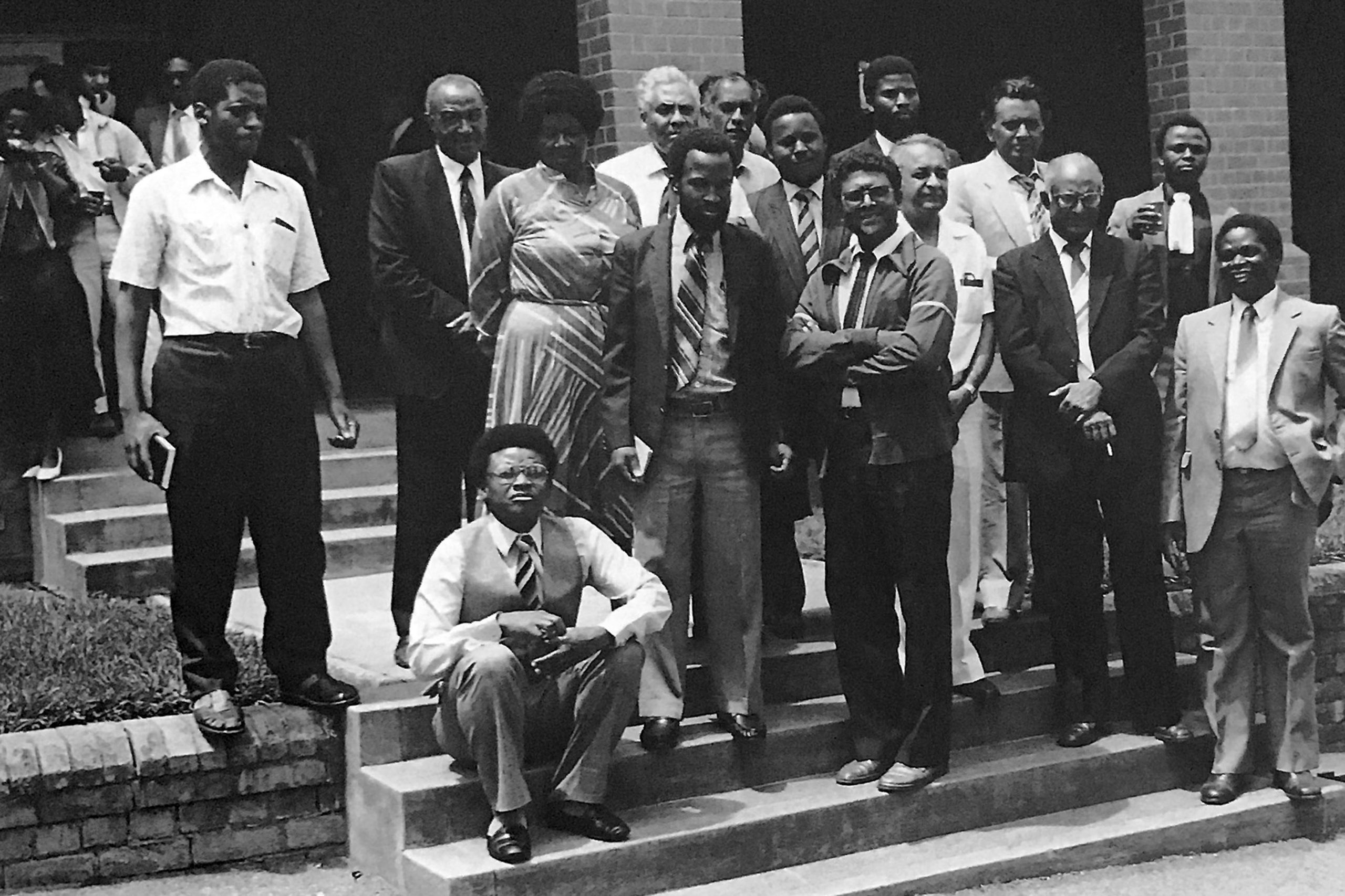 Undated: Sixteen members of the United Democratic Front were accused of treason in the Pietermaritzburg Supreme Court. Paul David is standing third from the left in the front row. (Photograph supplied by UKZN Archives, Documentation Centre)