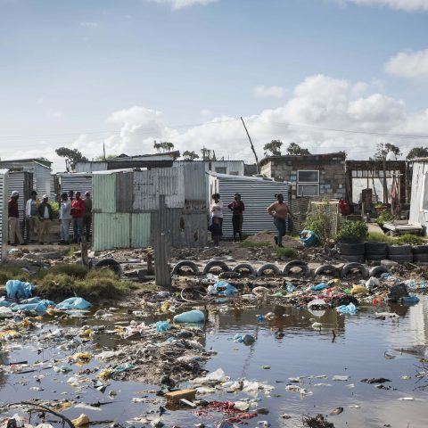 26 April 2018: Heavily polluted water in the Marikana settlement in Cape Town. (Photograph by Madelene Cronjé)