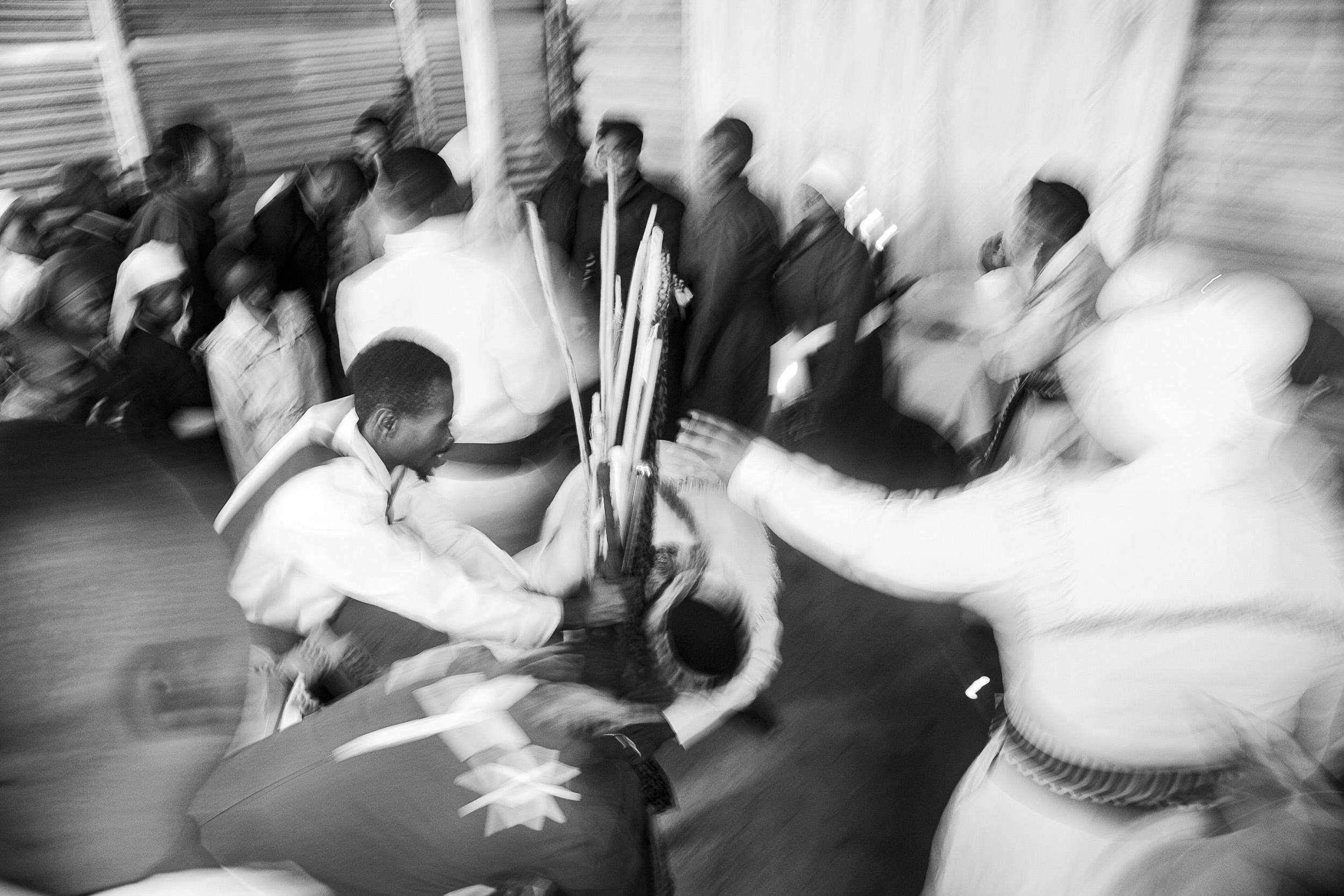 Undated: Hlomani Izikhali II – Ukuphila KwamaKrestu under Bishop Mancele prays for the spiritual staves as church begins.