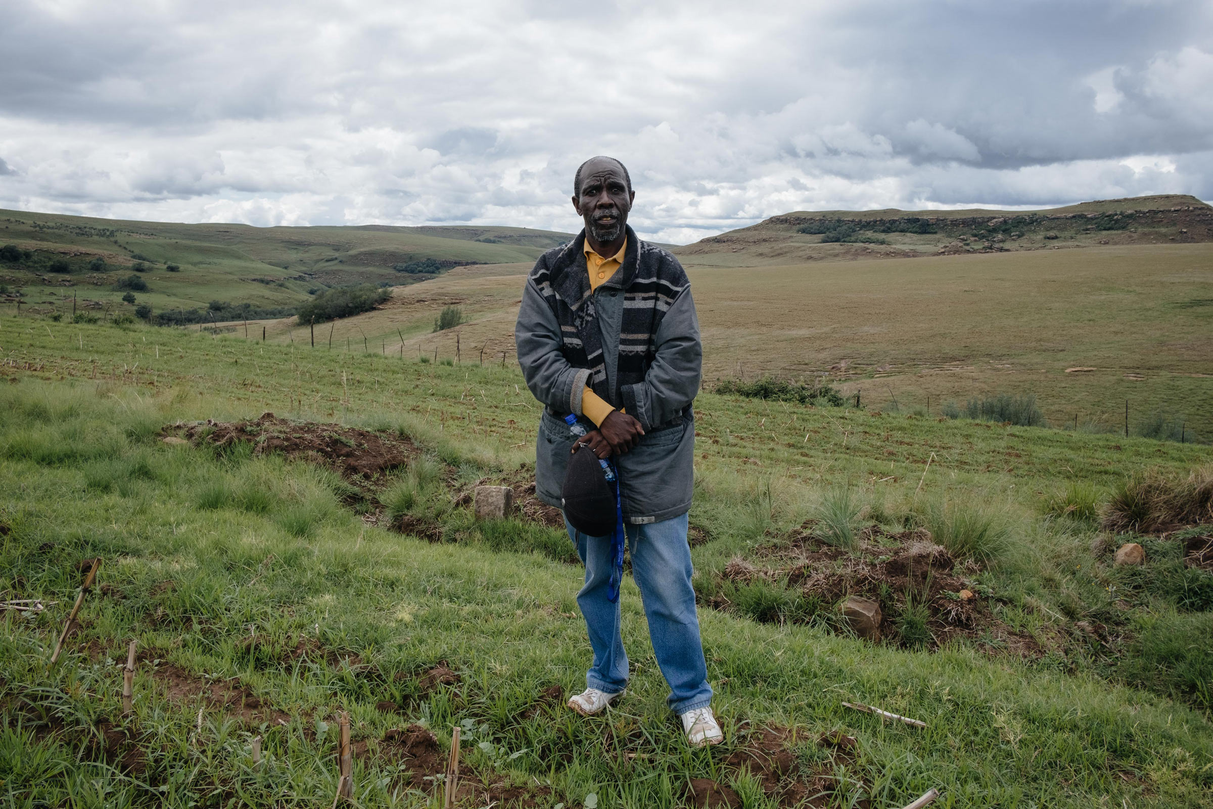 11 December 2019: George Nqoko at the graves of his ancestors on Orla Farm. Since the eviction, it has become difficult for him to access this area.