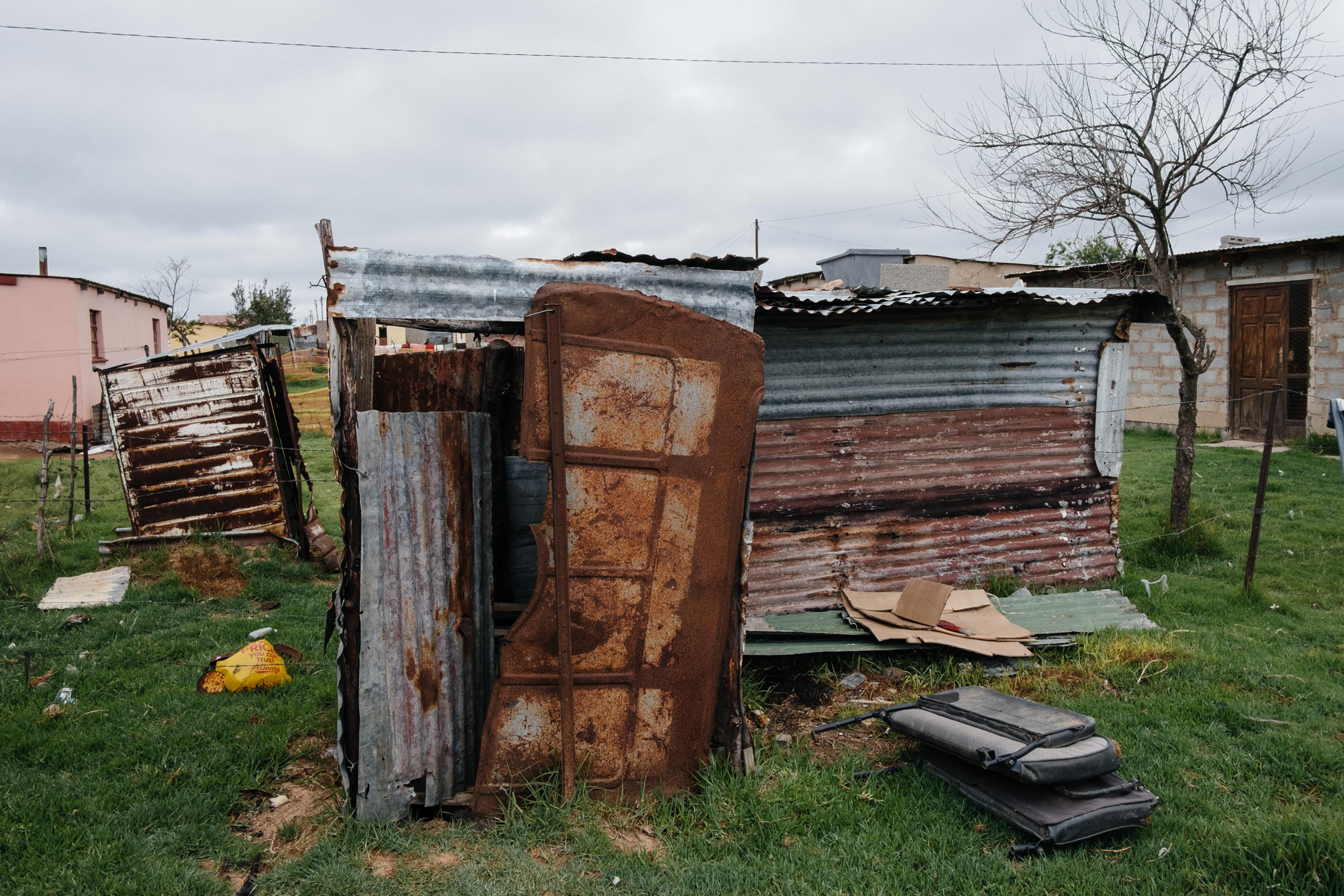 10 December 2019: A makeshift pit latrine in the back yard of Nolinette Nqoko's house in Vergenoeg Township, Elliot, Eastern Cape.