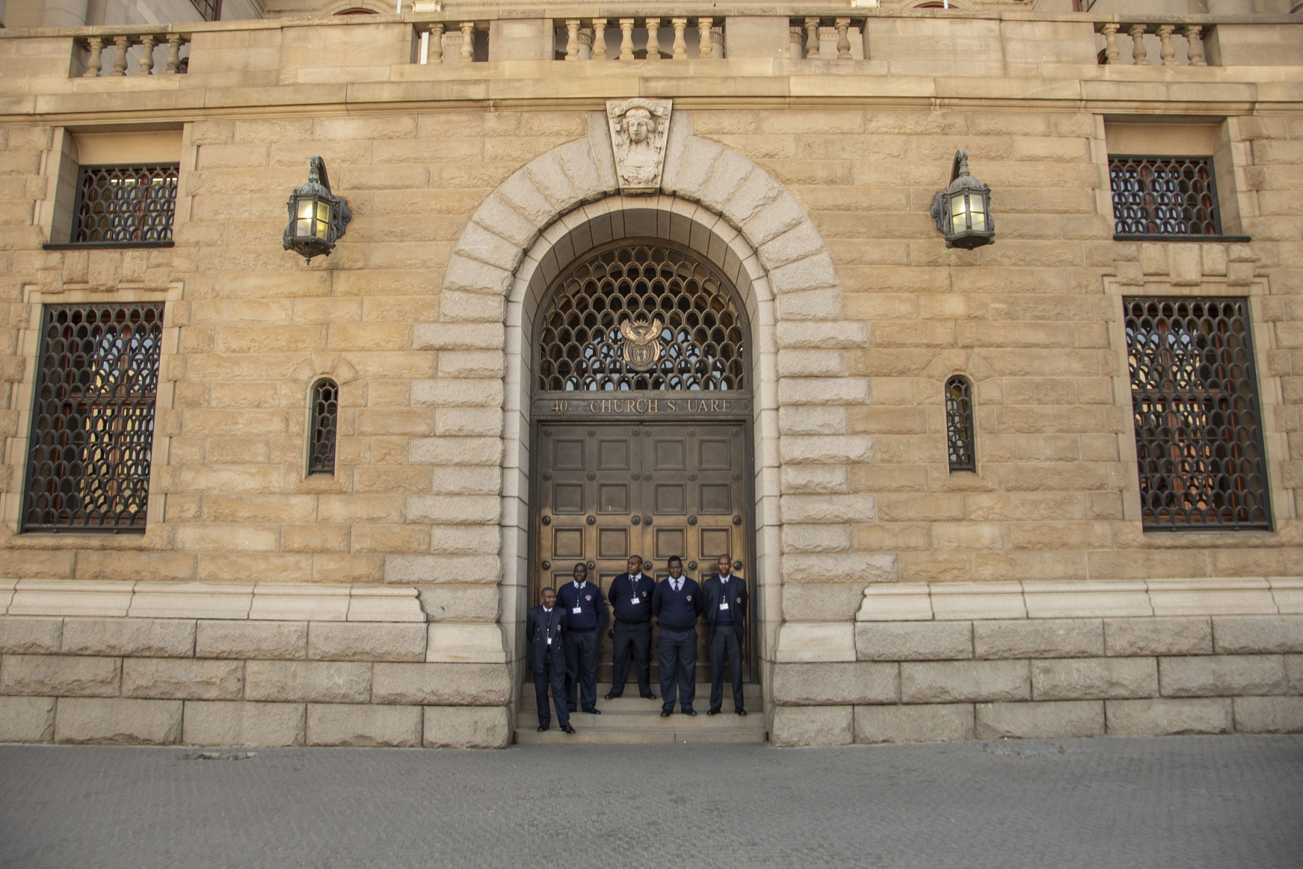 20 July 2017: Security guards outside the National Treasury in Pretoria, which labour federations say is on a path of austerity that is proving to be a stumbling block in the bid for a massive stimulus package.