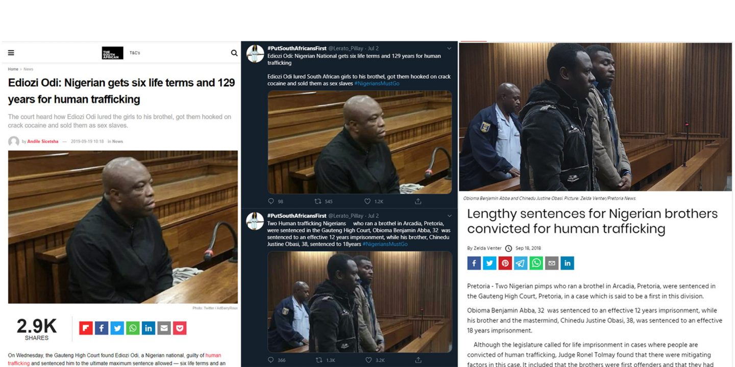 Screengrabs from tweets by the @uLerato_pillay account that were copied verbatim from reportin by mainstream media outlets. These articles were months, and even years old.