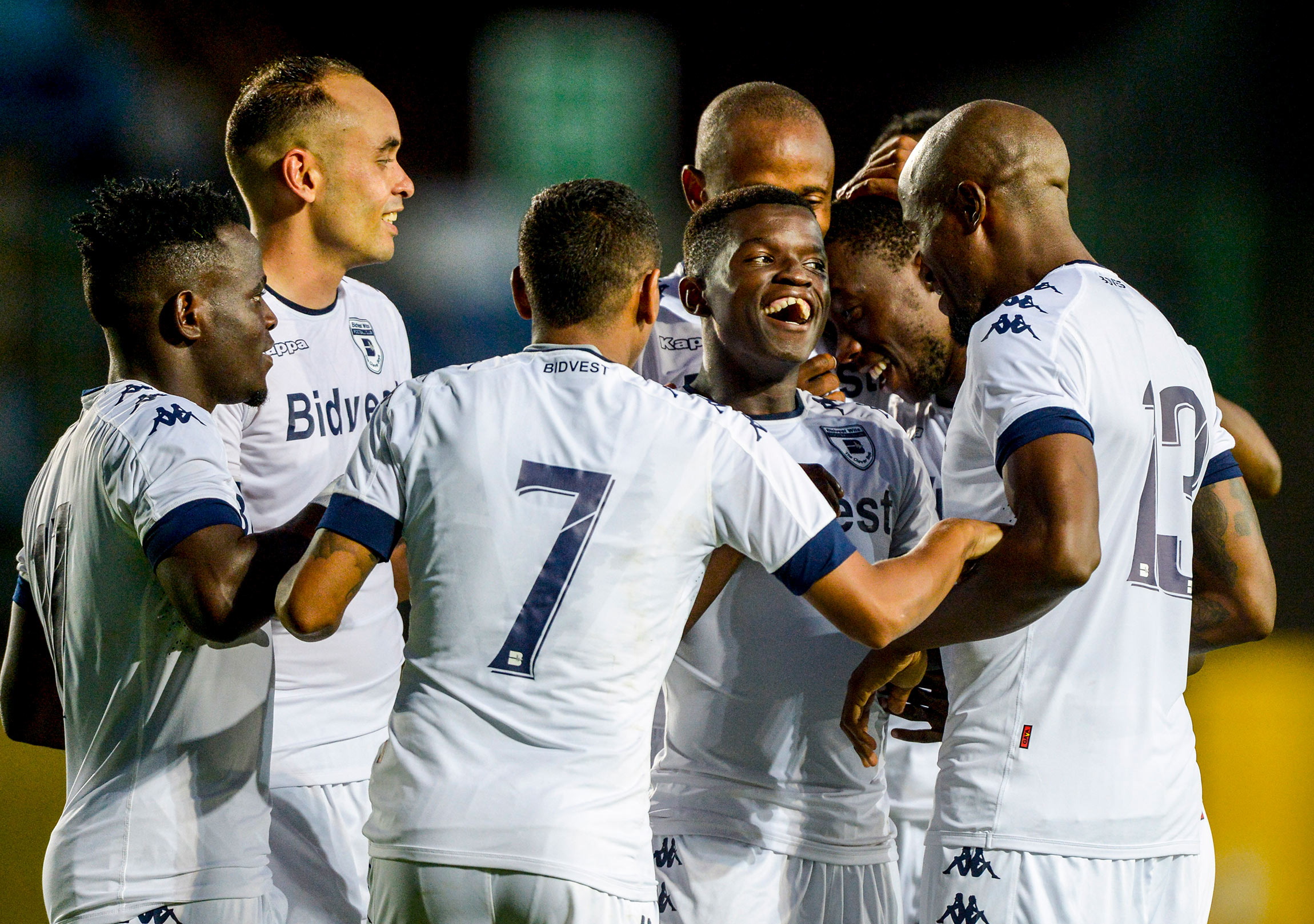 18 February 2017: Sifiso Myeni of Wits celebrates with his teammates after scoring during their CAF Champions League qualifying match against Saint-Louisienne at the Bidvest Stadium in Johannesburg. (Photograph by Sydney Seshibedi/ Gallo Images)