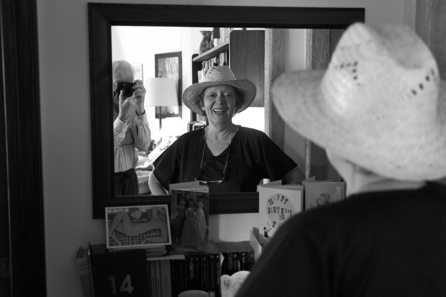 12 June 2014: Jürgen Schadeberg's wife, Claudia, shows off a new hat. (Photograph courtesy of the Jürgen Schadeberg estate)