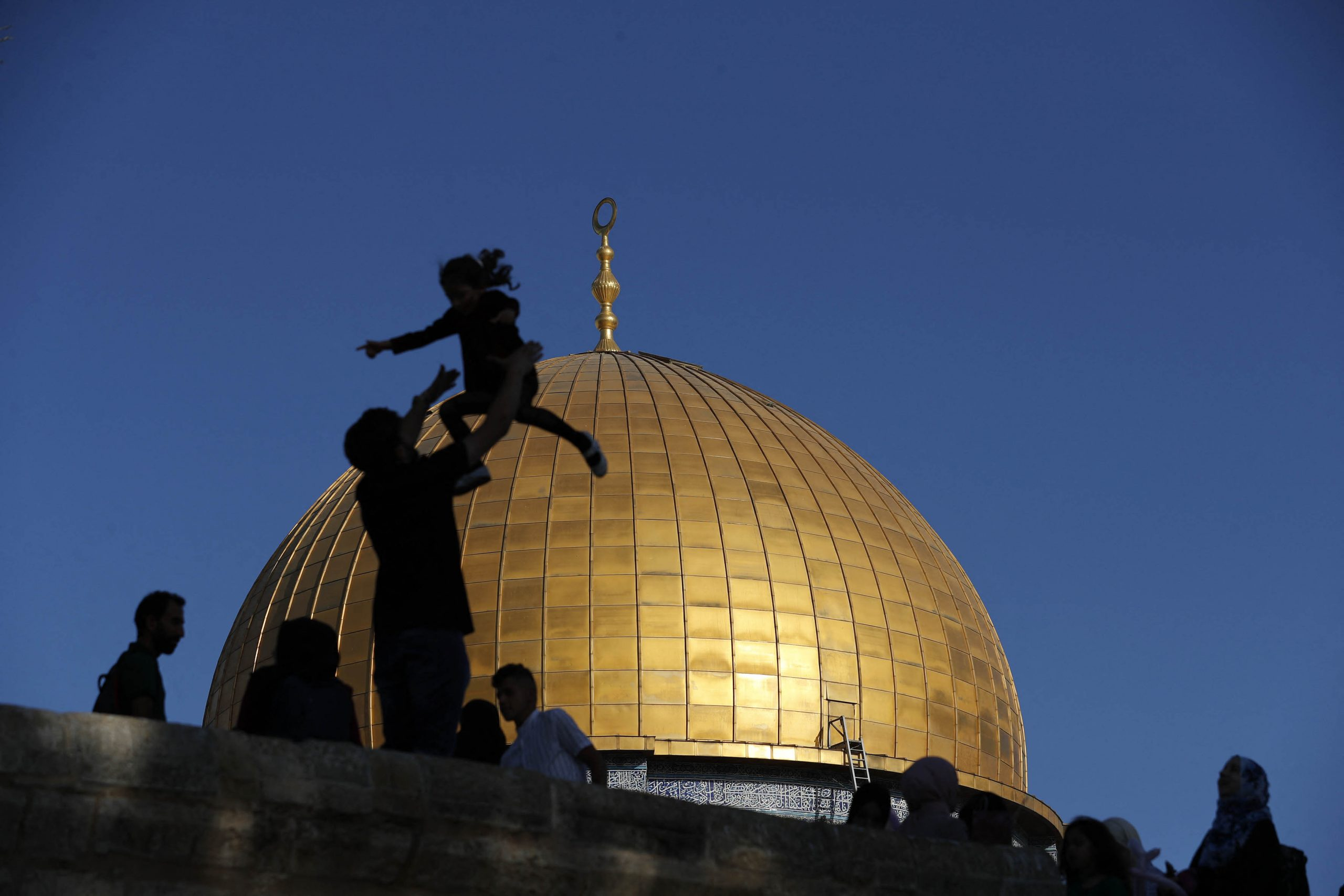 13 May 2021: Muslim worshippers in front of the Dome of the Rock before the morning Eid al-Fitr prayer that marks the end of Ramadan, at the Al Aqsa Mosque compound in Old Jerusalem. (Photograph by Ahmad Gharabli/ AFP)