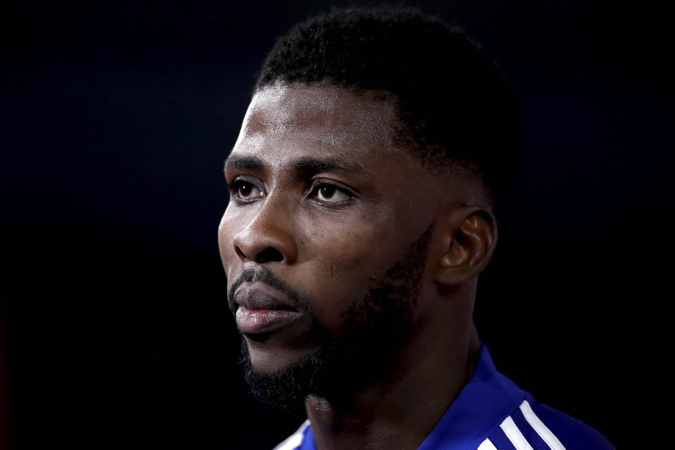 21 March 2021: Kelechi Iheanacho of Leicester City is interviewed at full time after an Emirates FA Cup quarter-final against Manchester United at The King Power Stadium in Leicester, England. (Photograph by Alex Pantling/ Getty Images)