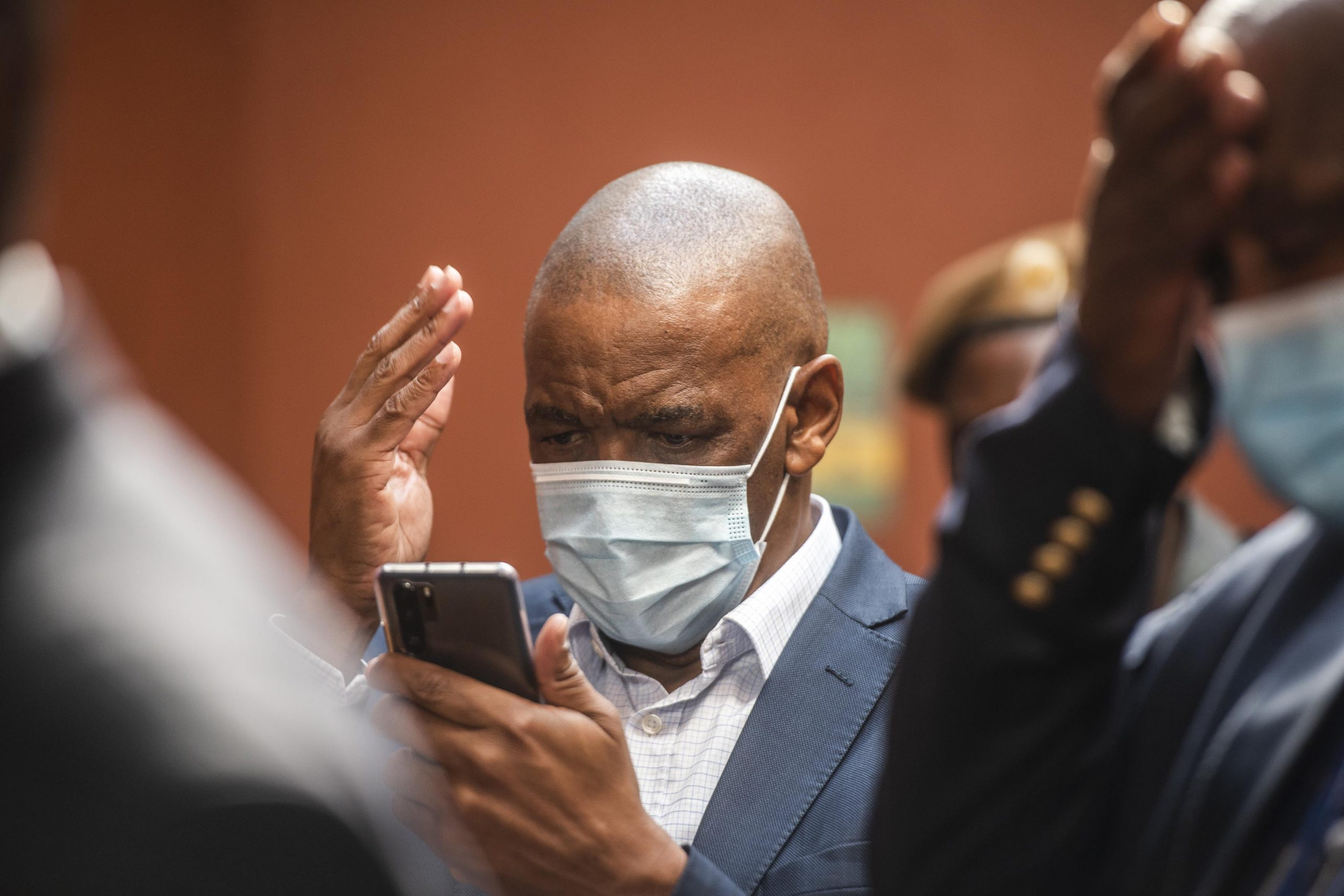 19 February 2021: Then ANC secretary general Ace Magashule at the Bloemfontein Magistrate's Court, with co-accused. He was granted bail in the case of the multimillion rand asbestos contract in the Free State. (Photo by Gallo Images/ Alet Pretorius)